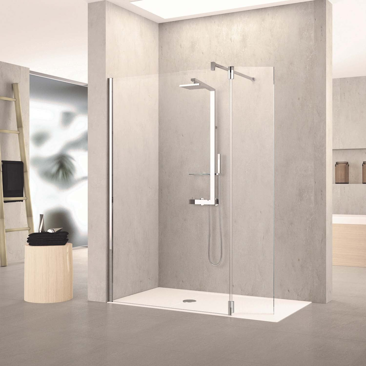 870-900mm Ergo Wet Room Screen Clear Glass with a chrome finish lifestyle image