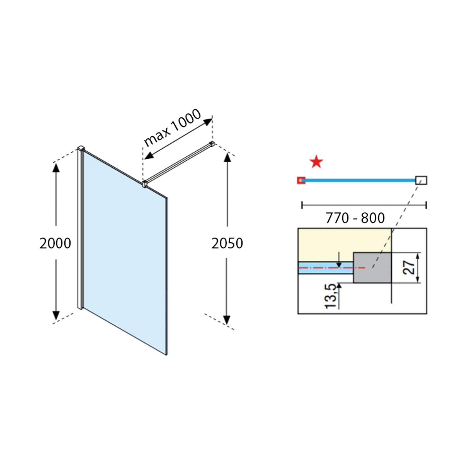 770-800mm Ergo Wet Room Screen Clear Glass with a chrome finish dimensional drawing