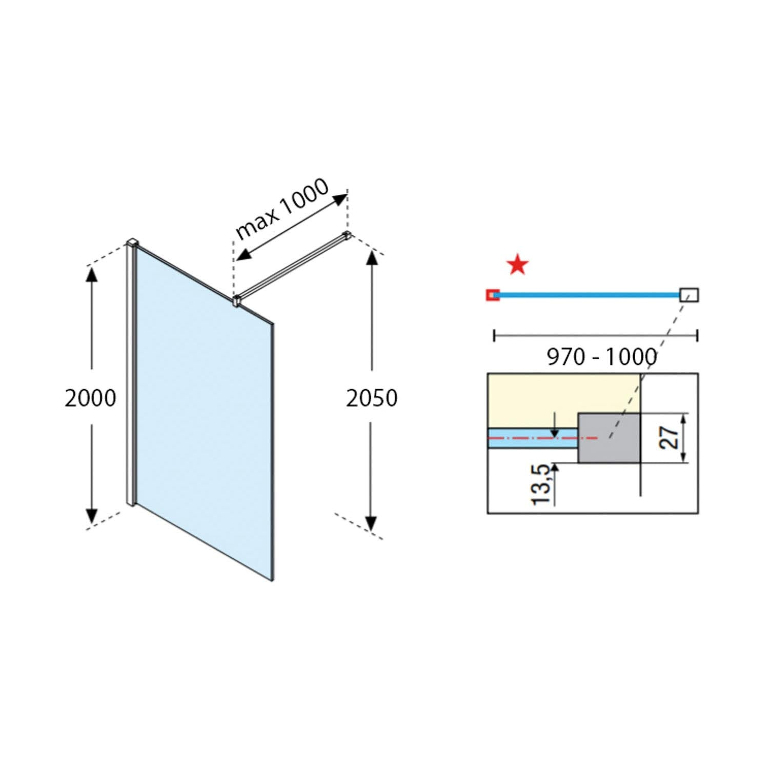 970-1000mm Ergo Wet Room Screen Clear Glass with a chrome finish dimensional drawing