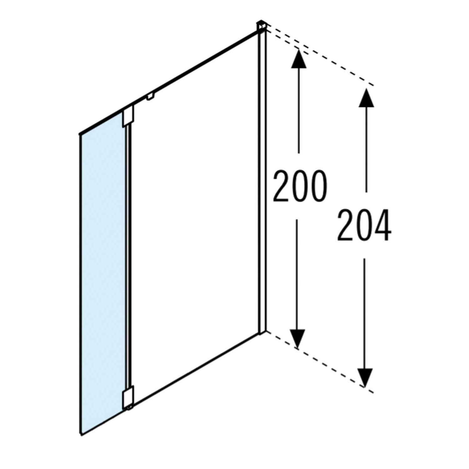 370mm Ergo Wet Room Deflector Panel Clear Glass with a chrome finish dimensional drawing