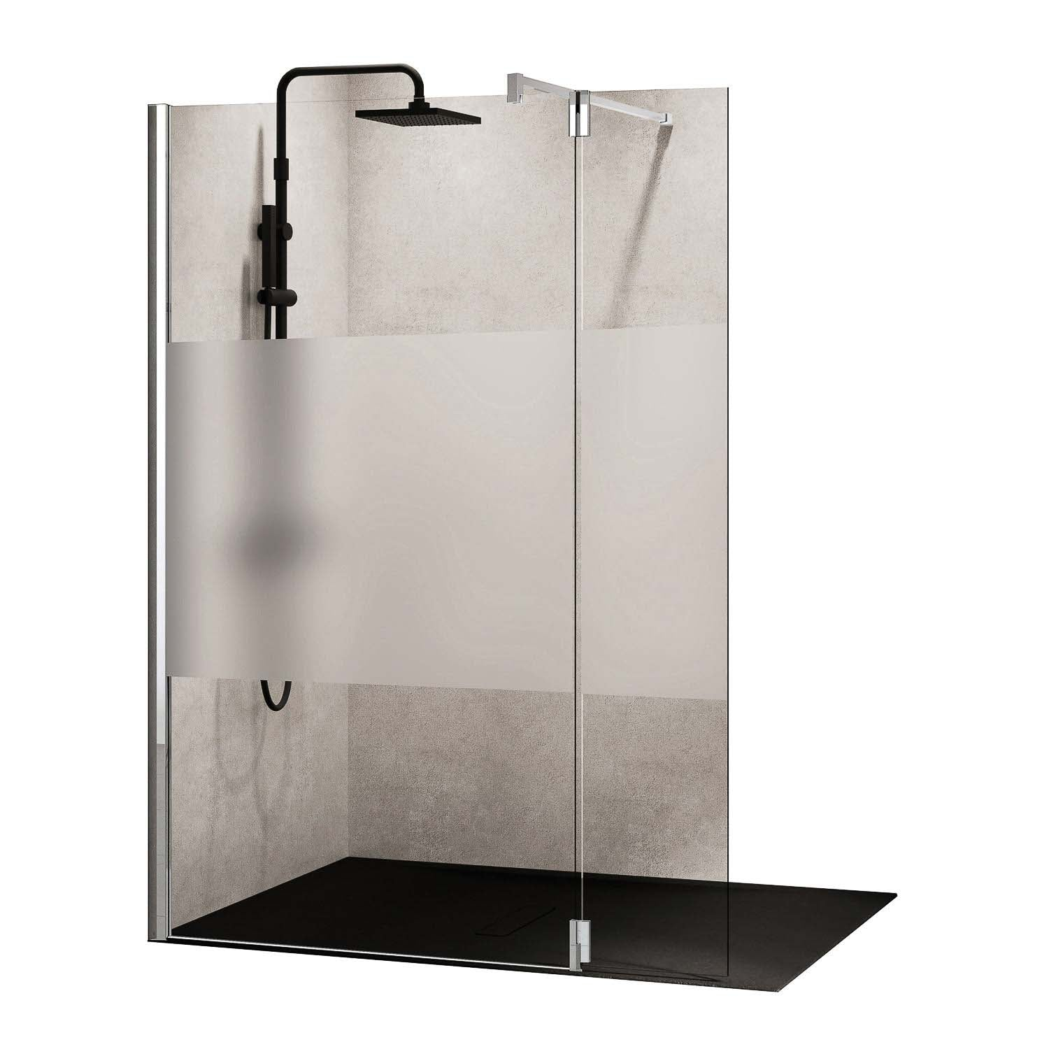 1170-1200mm Ergo Wet Room Screen Satin Band Glass with a chrome finish on a white background
