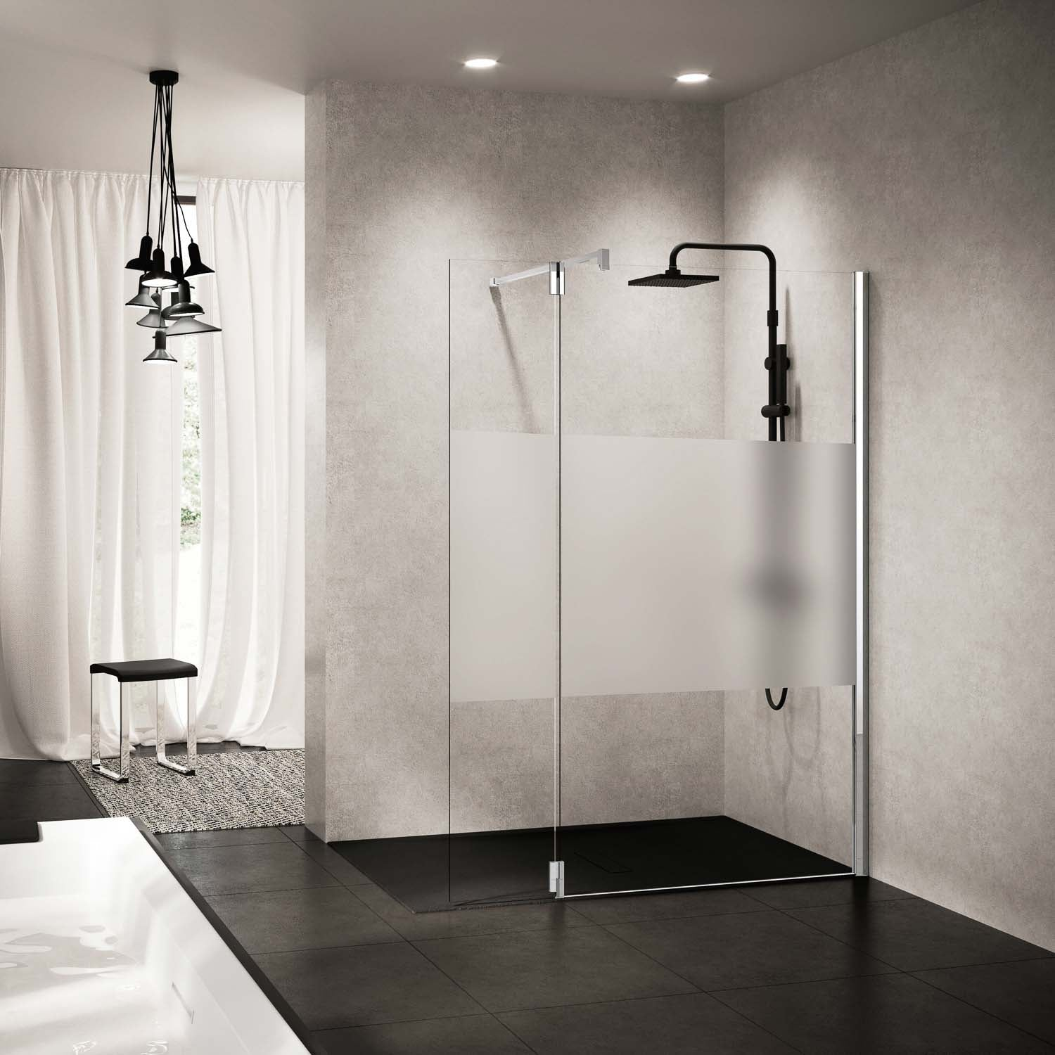 Left side 370mm Ergo Wet Room Deflector Panel Satin Band Glass with a chrome finish lifestyle image
