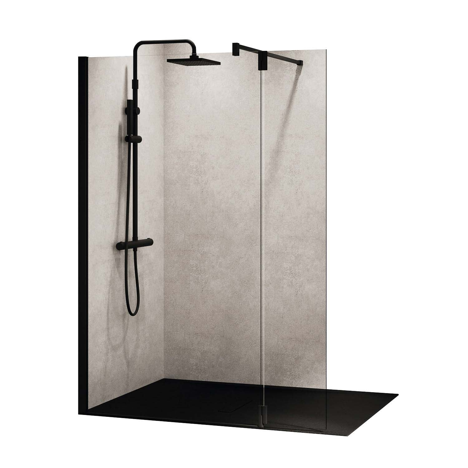 1170-1200mm Ergo Wet Room Screen Clear Glass with a matt black finish on a white background