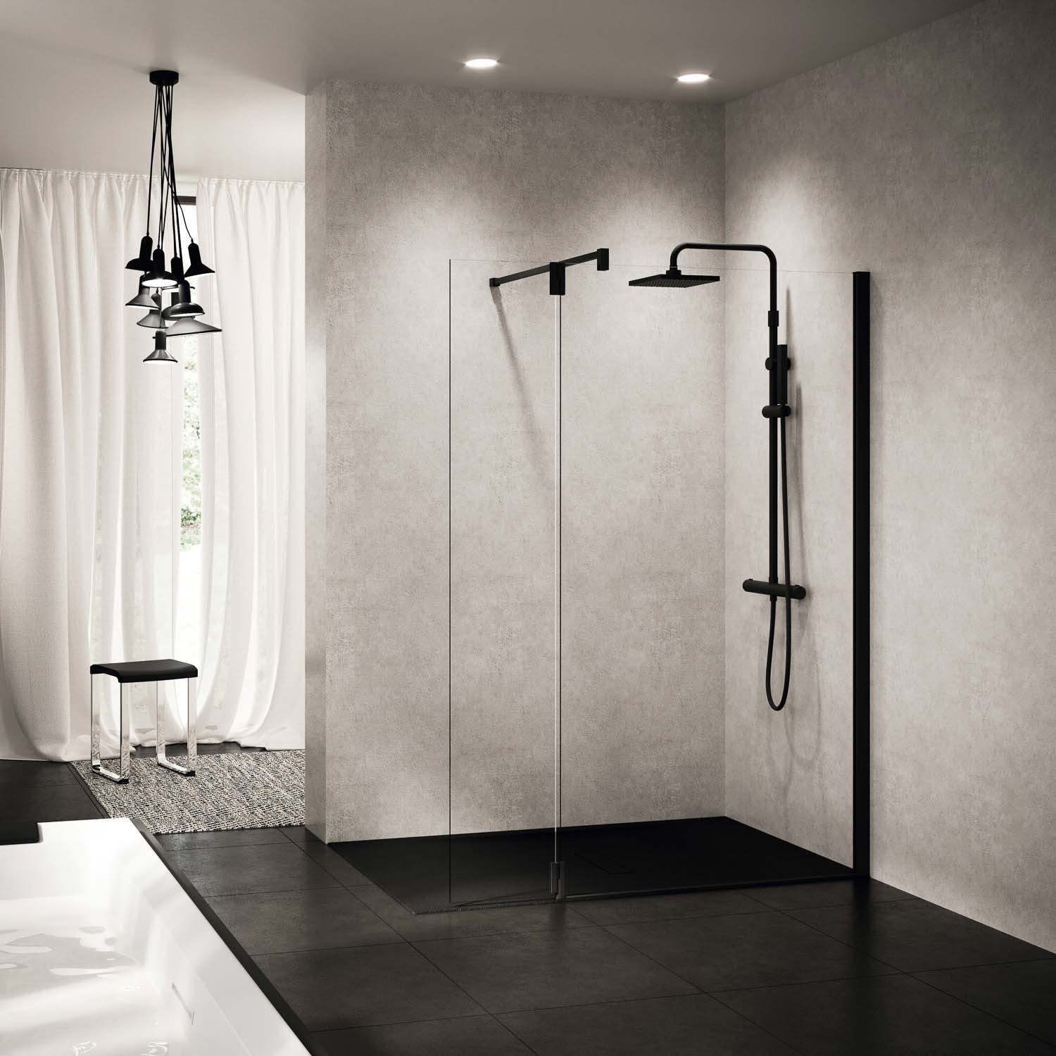 370mm Ergo Wet Room Deflector Panel Clear Glass with a matt black finish lifestyle image