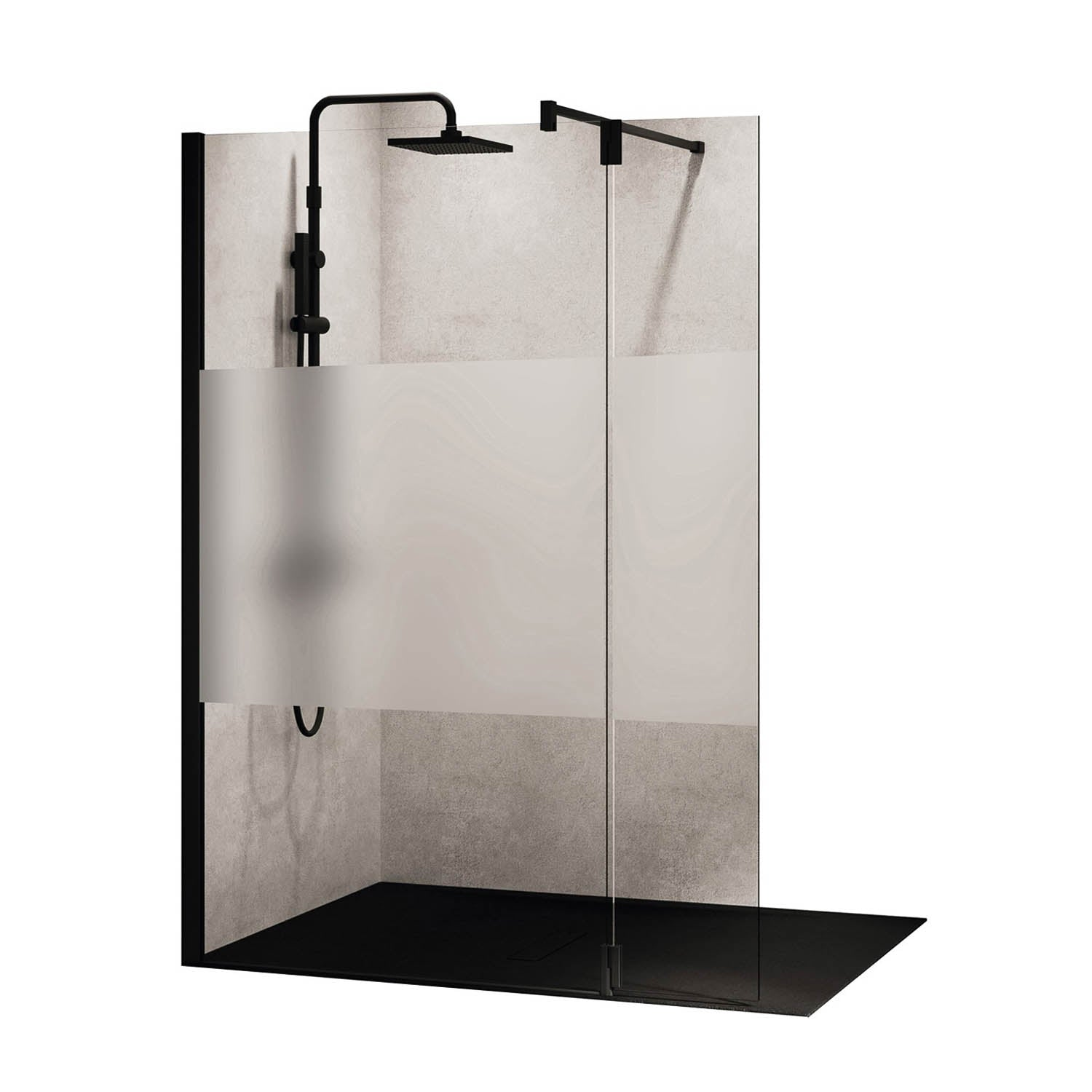 1170-1200mm Ergo Wet Room Screen Satin Band Glass with a matt black finish on a white background