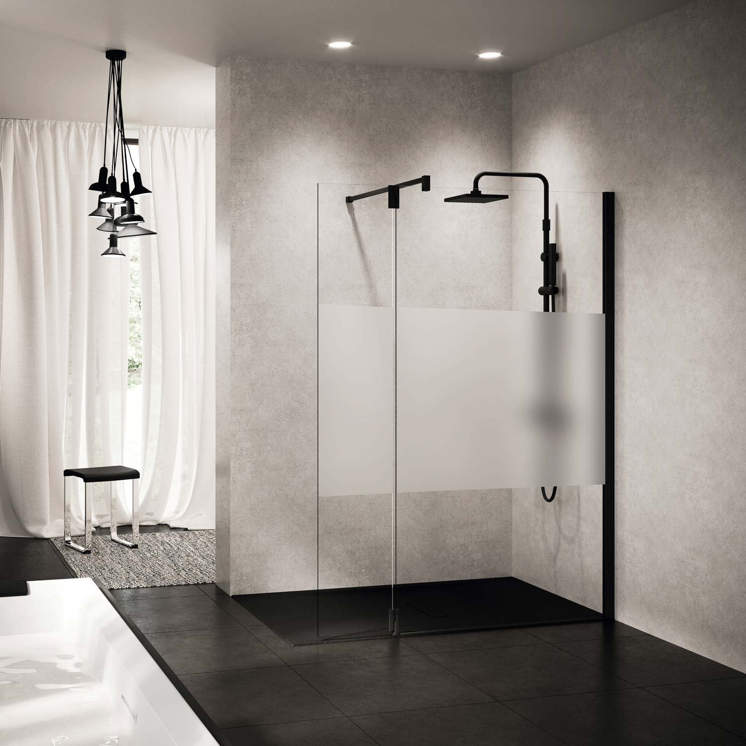 Right side 370mm Ergo Wet Room Deflector Panel Satin Band Glass with a matt black finish lifestyle image