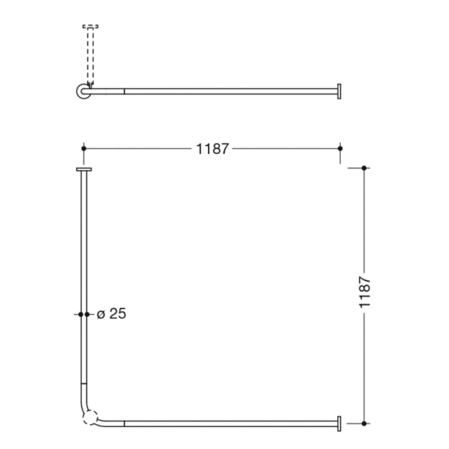 1200mm L-Shaped Shower Curtain Rail with a satin steel finish dimensional drawing