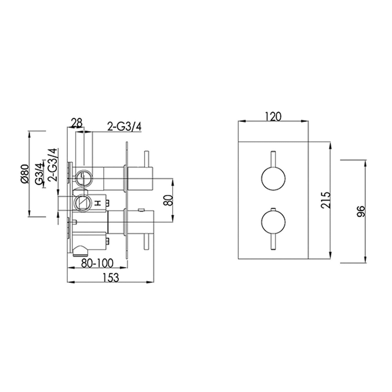 Single outlet Modale Concealed Shower Valve with a chrome finish dimensional drawing
