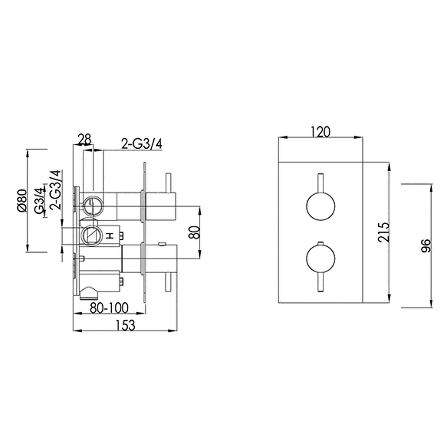 Dual outlet Modale Concealed Shower Valve with a chrome finish dimensional drawing