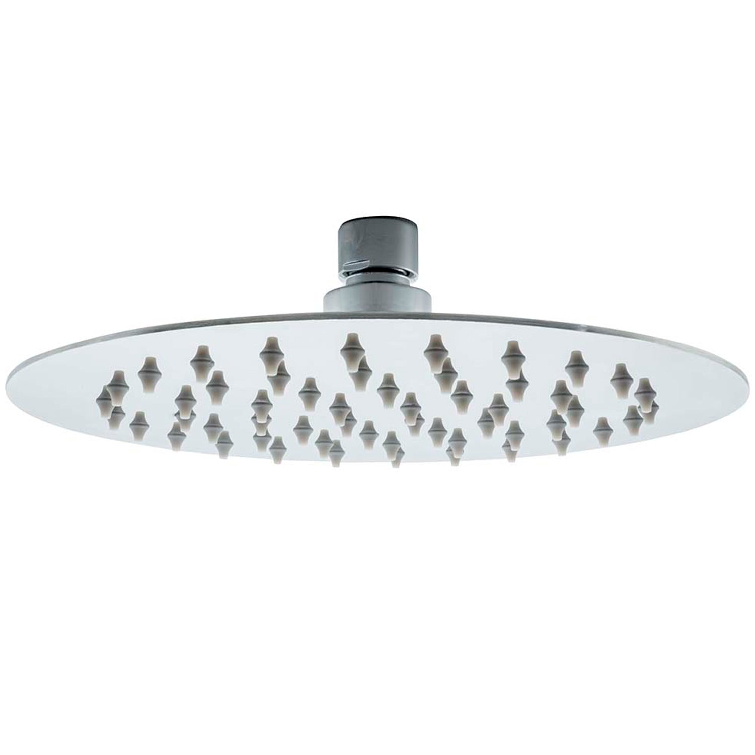 200mm Modale Rainwater Shower Head with a chrome finish on a white background