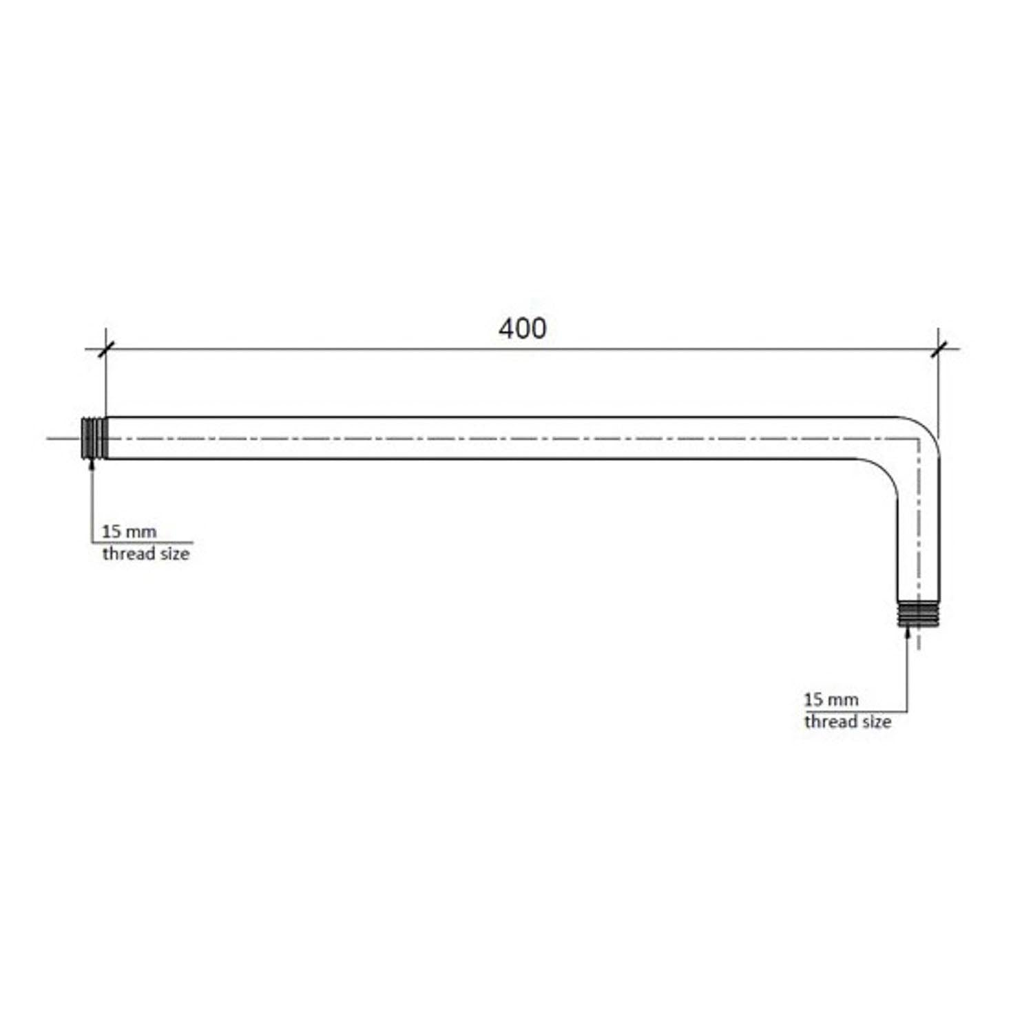 400mm Modale wall mounted Shower Arm with a chrome finish dimensional drawing