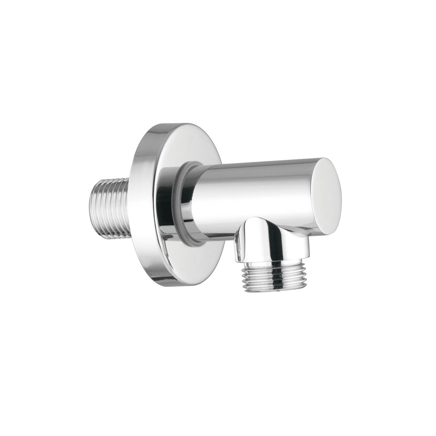 Modale Shower Outlet Elbow with a chrome finish on a white background