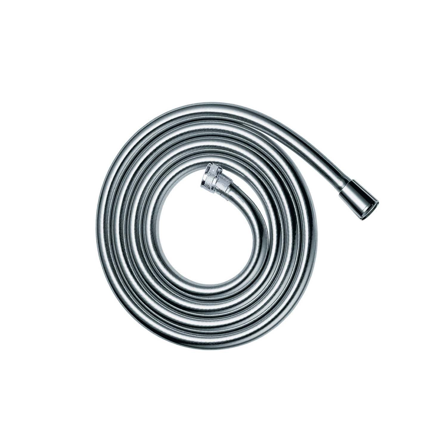1600mm smooth metal shower hose with a plastic coating chrome on a white background