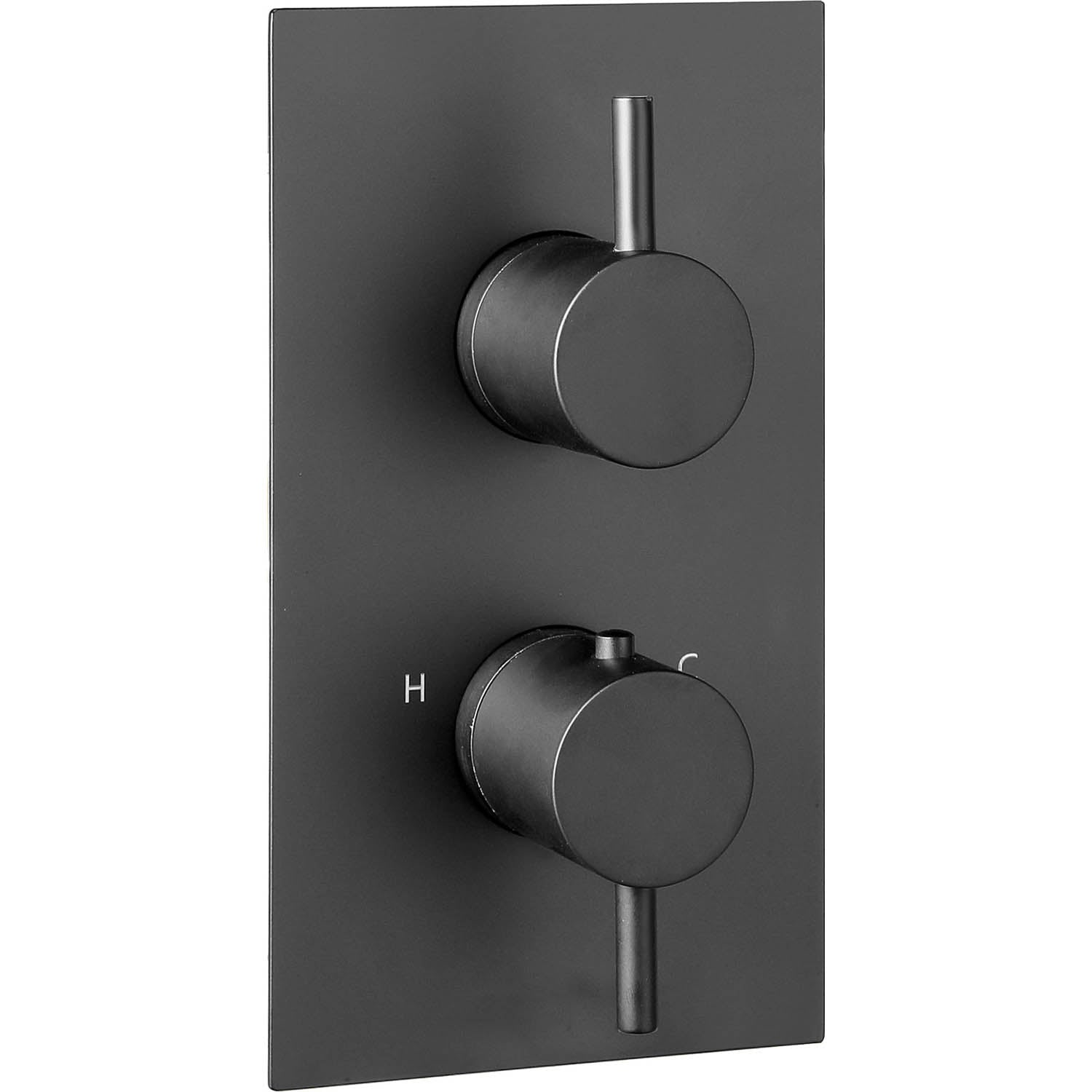 Dual outlet Libero Concealed Shower Valve with a matt black finish on a white background
