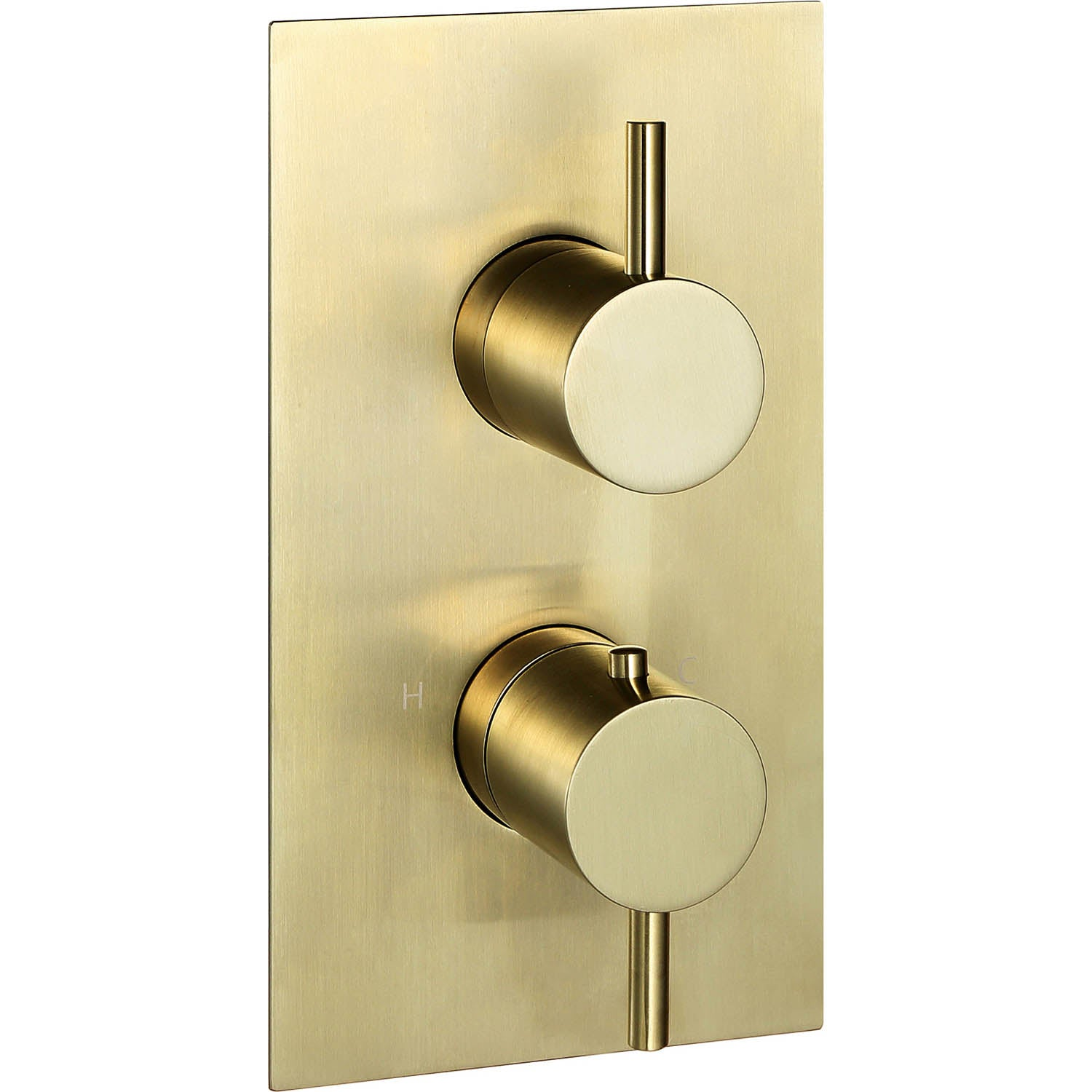 Dual outlet Libero Concealed Shower Valve with a brushed brass finish on a white background