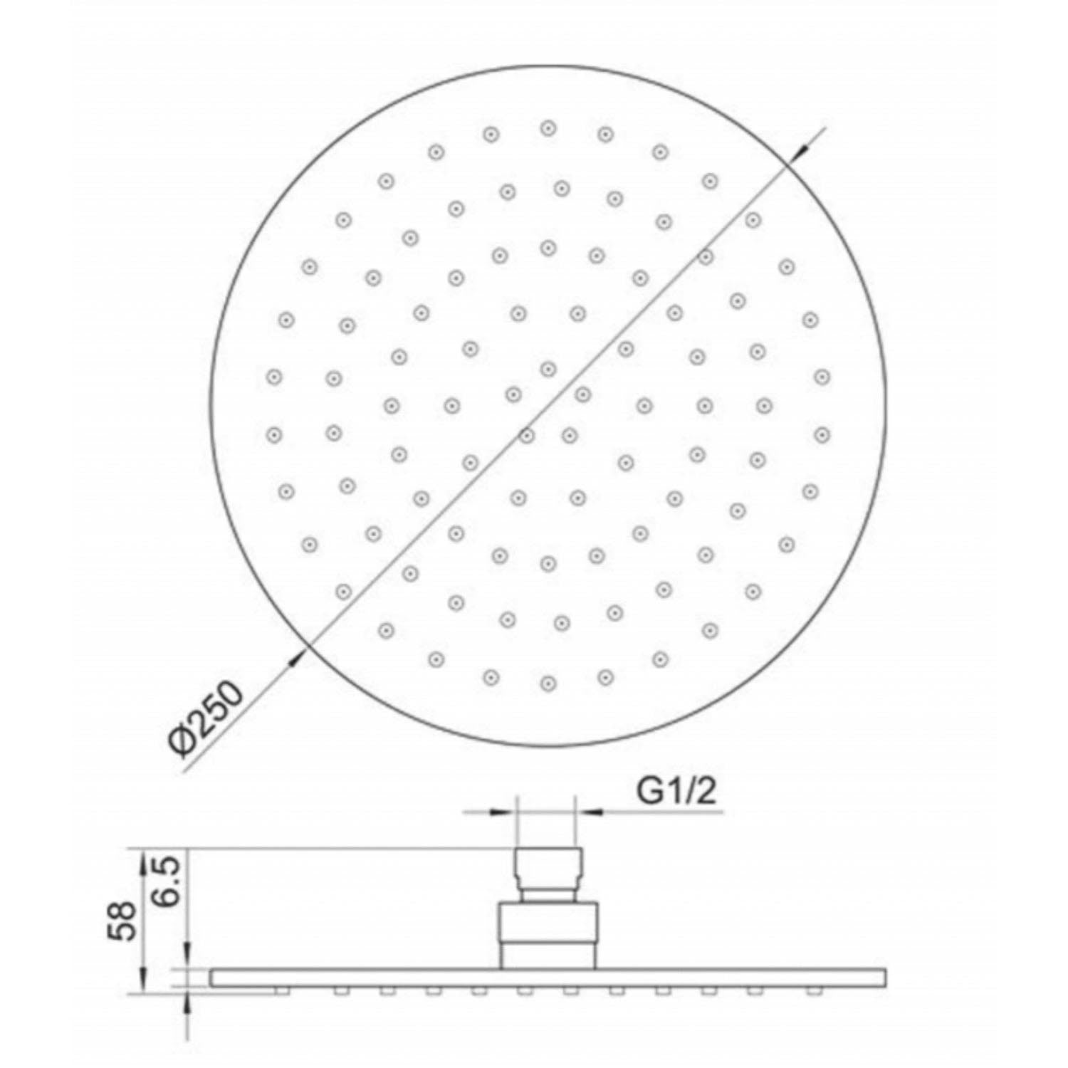 250mm Libero Rainwater Shower Head with a brushed brass finish dimensional drawing