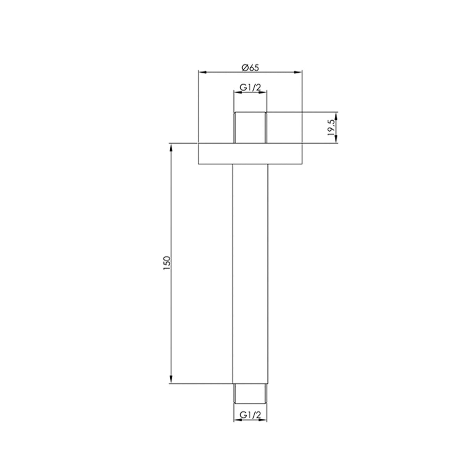 150mm ceiling mounted Libero Shower Arm with a brushed brass finish dimensional drawing