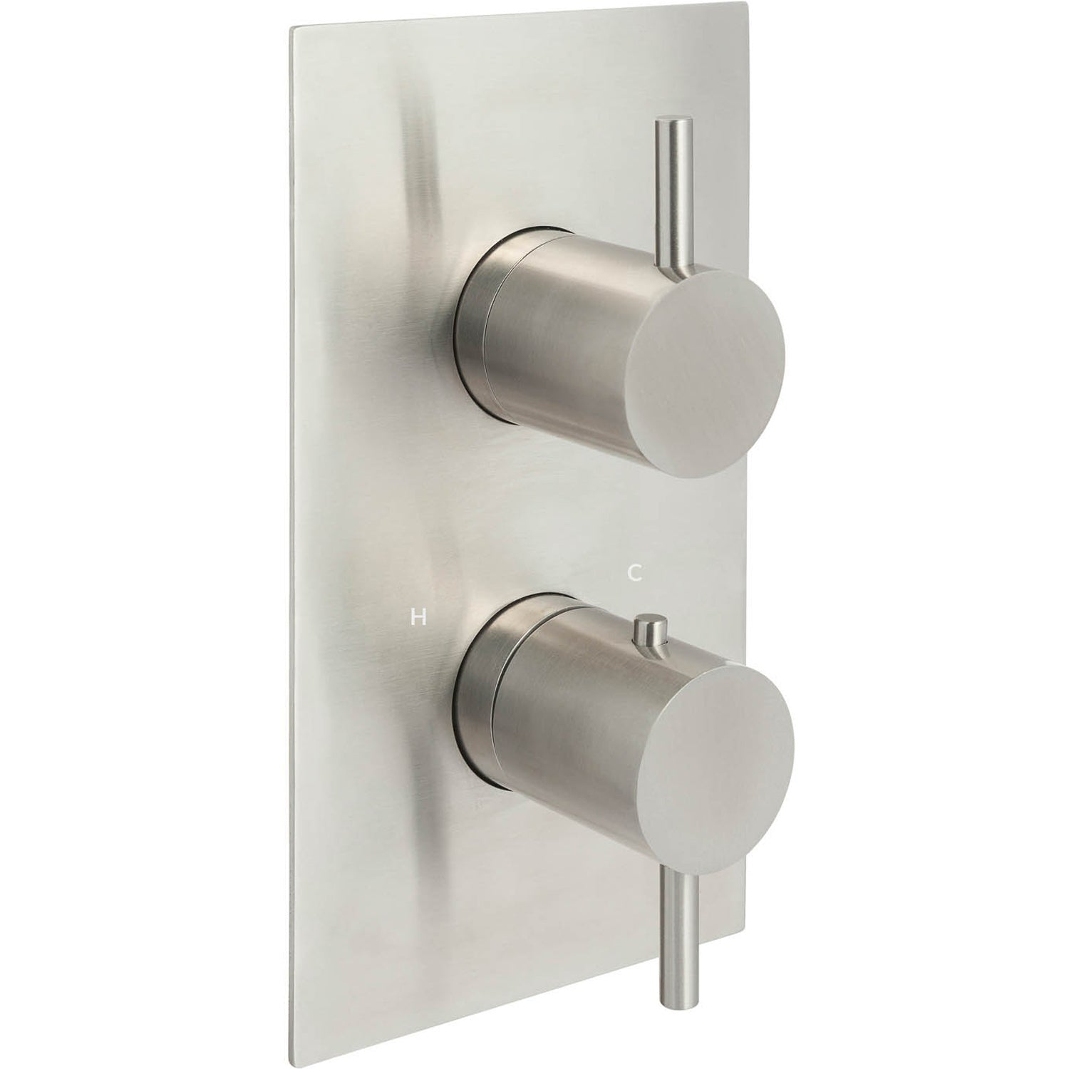 Single outlet Libero Concealed Shower Valve with a satin steel finish on a white background
