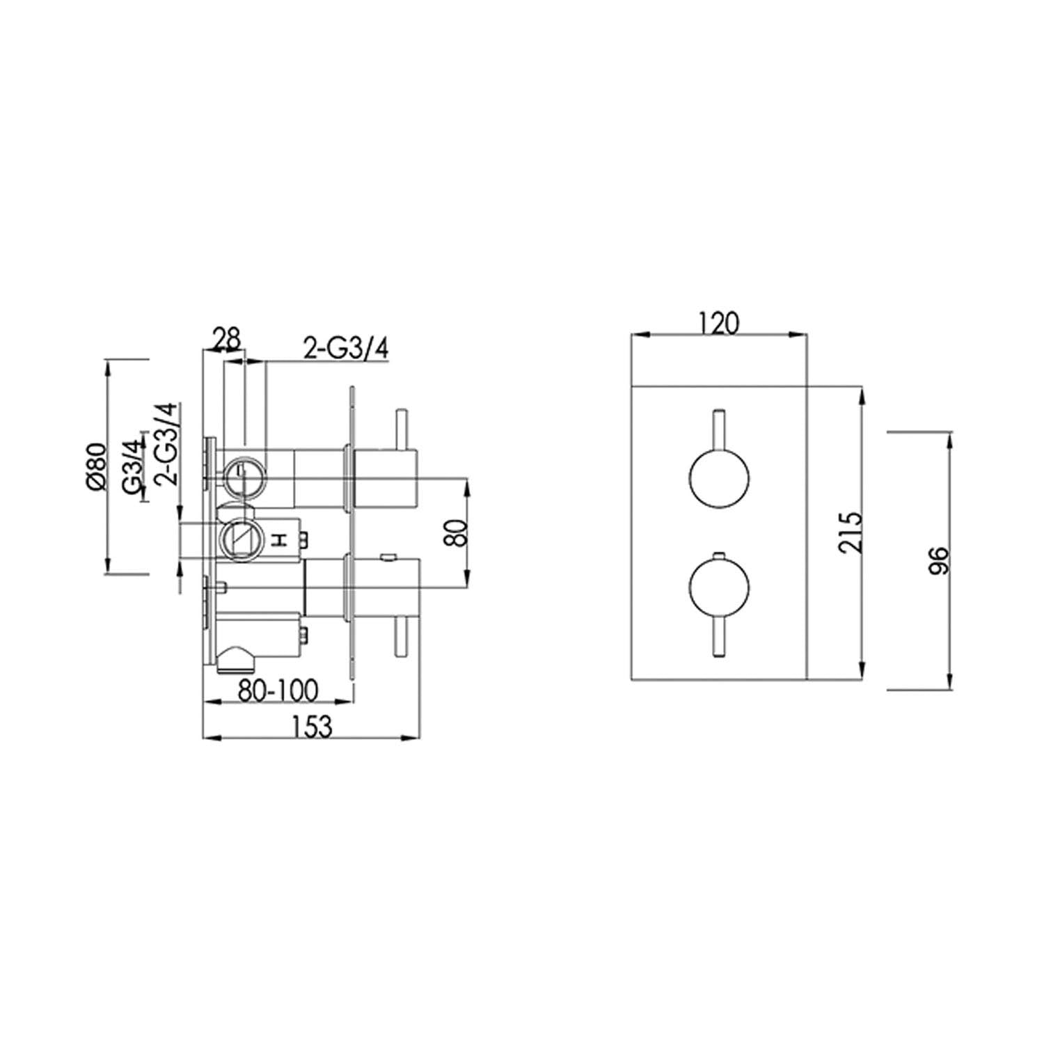 Dual outlet Libero Concealed Shower Valve with a satin steel finish dimensional drawing