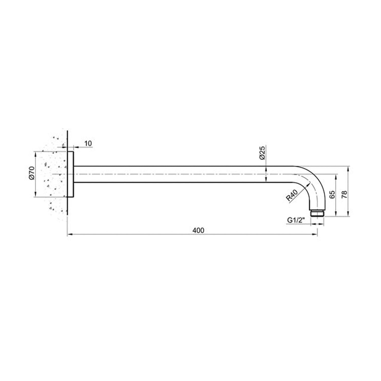 400mm wall mounted Libero Shower Arm with a satin steel finish dimensional drawing