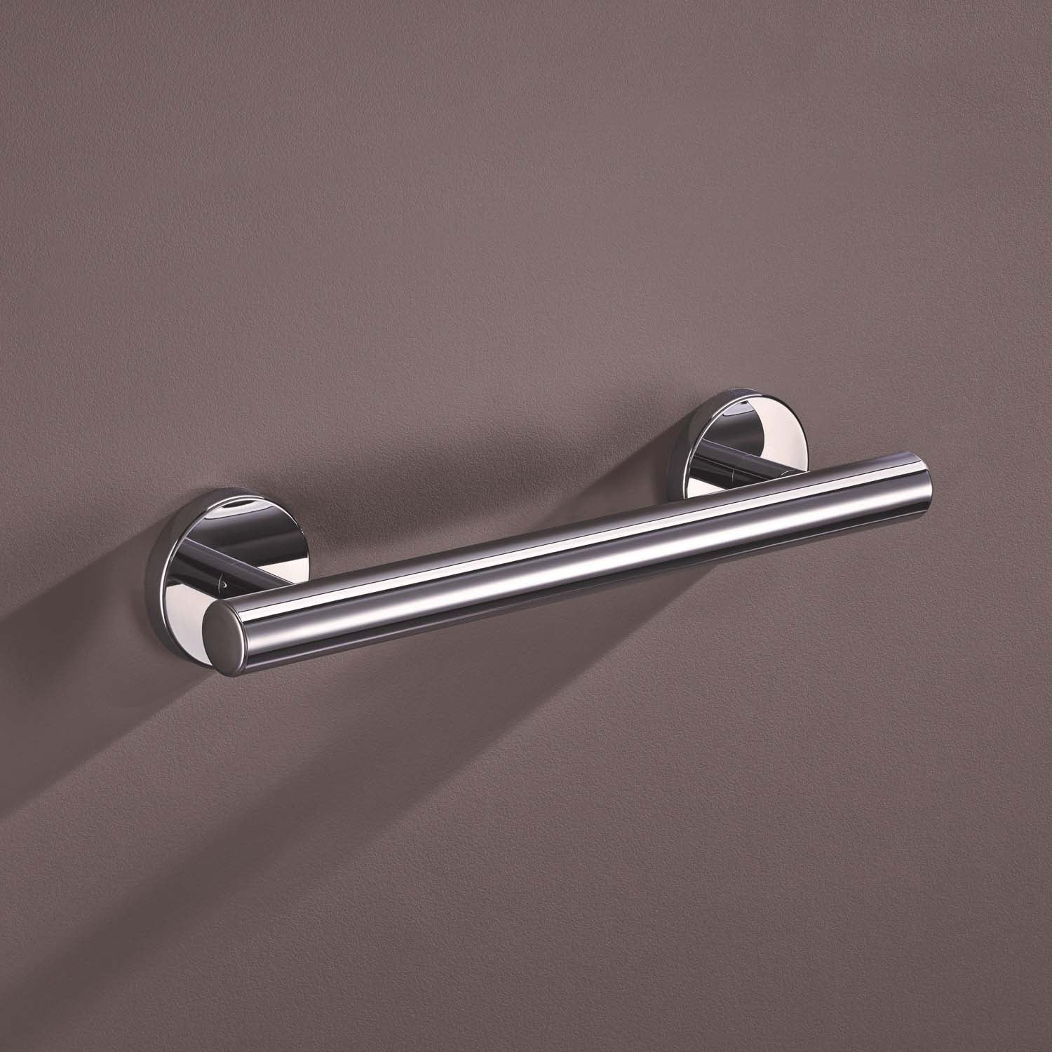 400mm Warm Touch Circula Straight Grab Rail with a chrome look finish lifestyle image