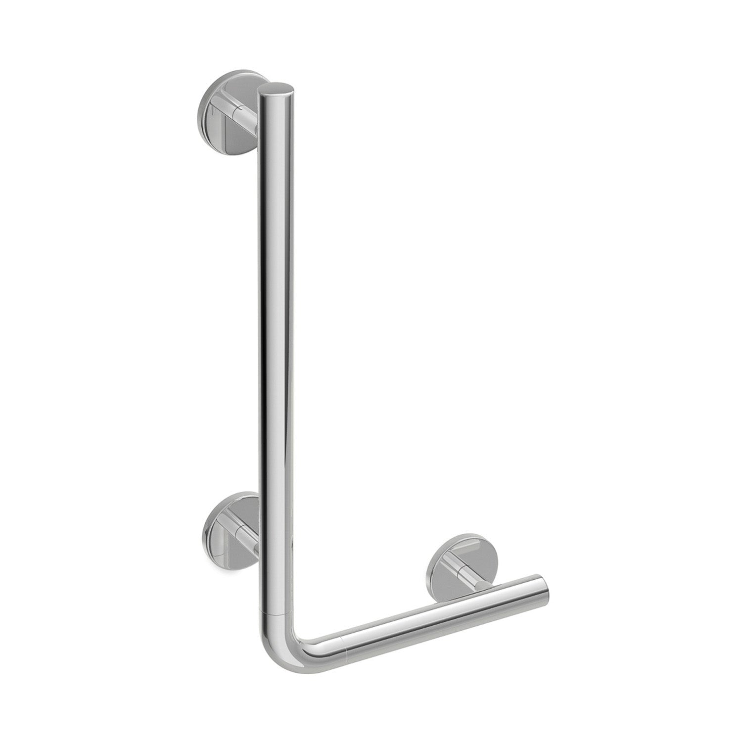 750x500mm Right Handed Circula L Shaped Grab Rail with a chrome look finish on a white background