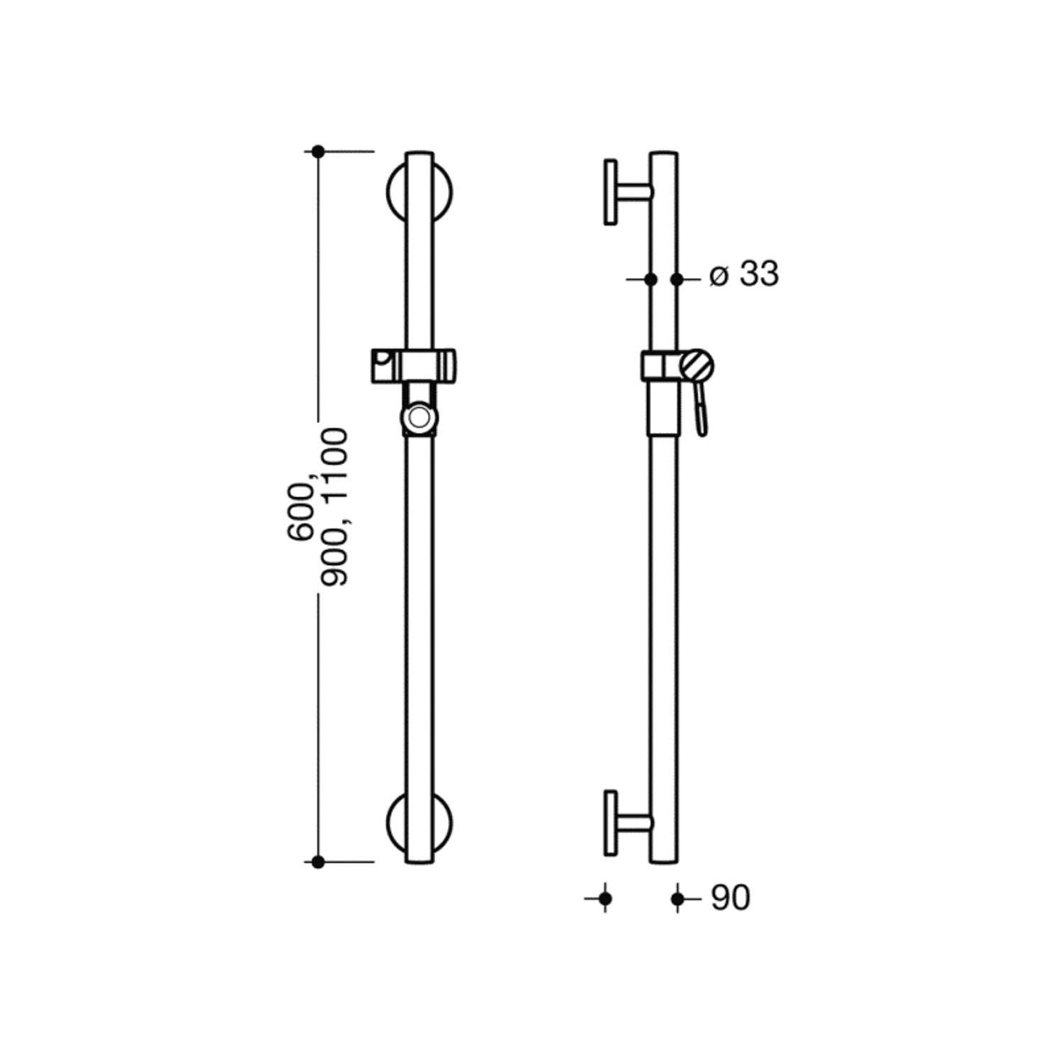 1100mm Circula Supportive Shower Rail with a chrome finish dimensional drawing