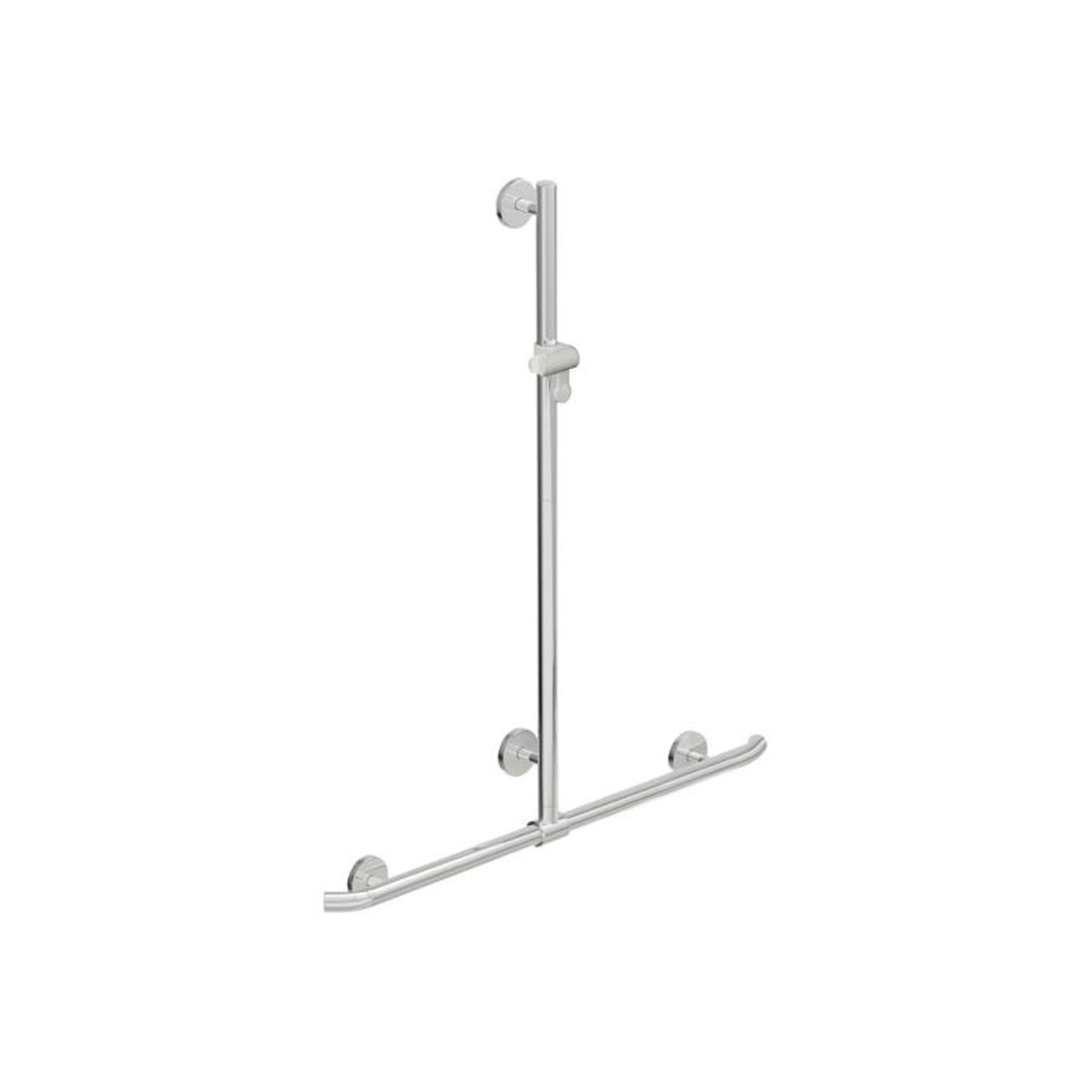 1100x1184mm Circula Supportive T Shaped Shower Rail with a chrome finish on a white background