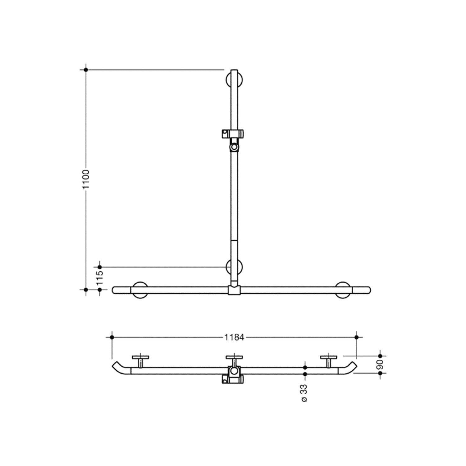 1100x1184mm Circula Supportive T Shaped Shower Rail with a chrome finish dimensional drawing
