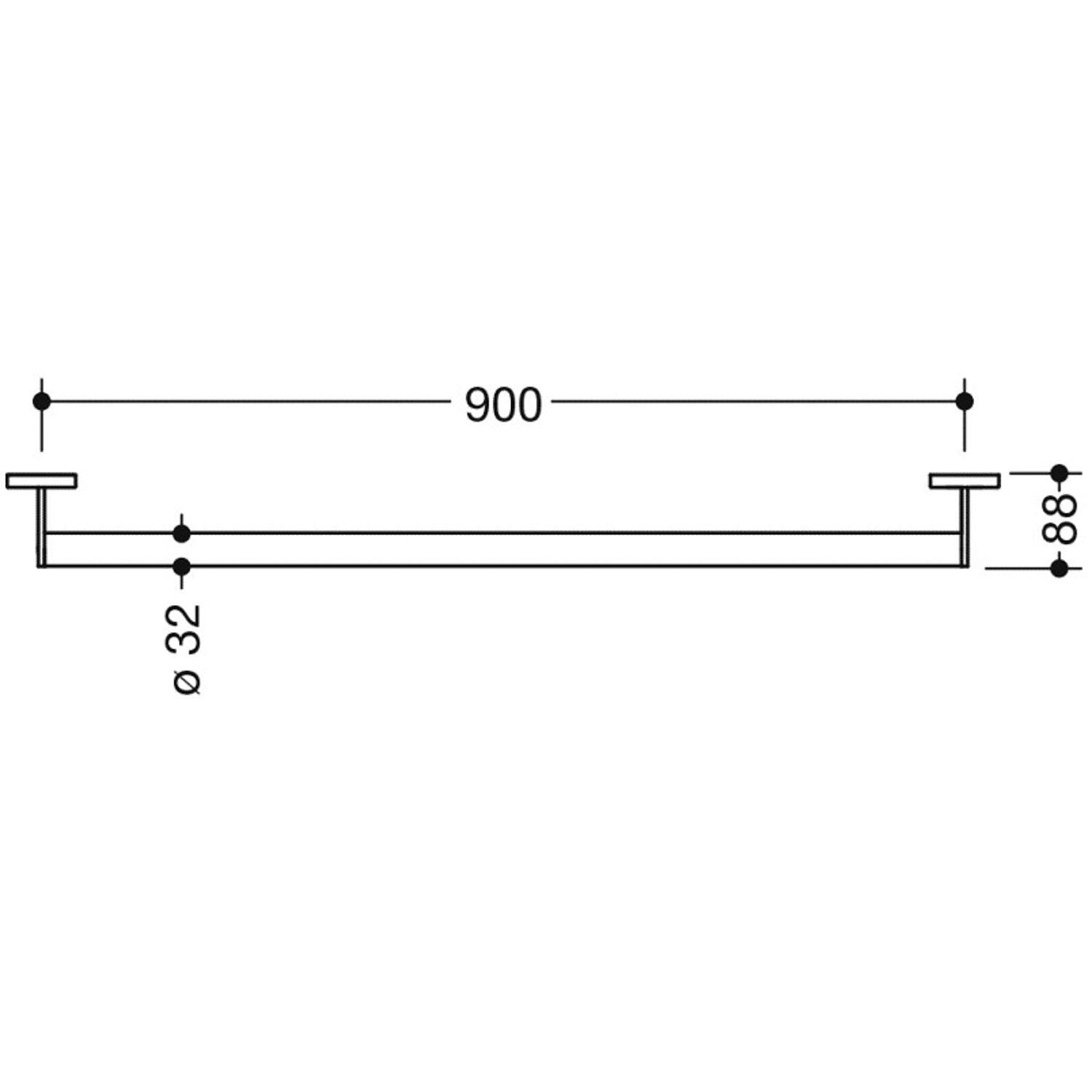 900mm Freestyle Straight Grab Rail with a satin steel finish dimensional drawing