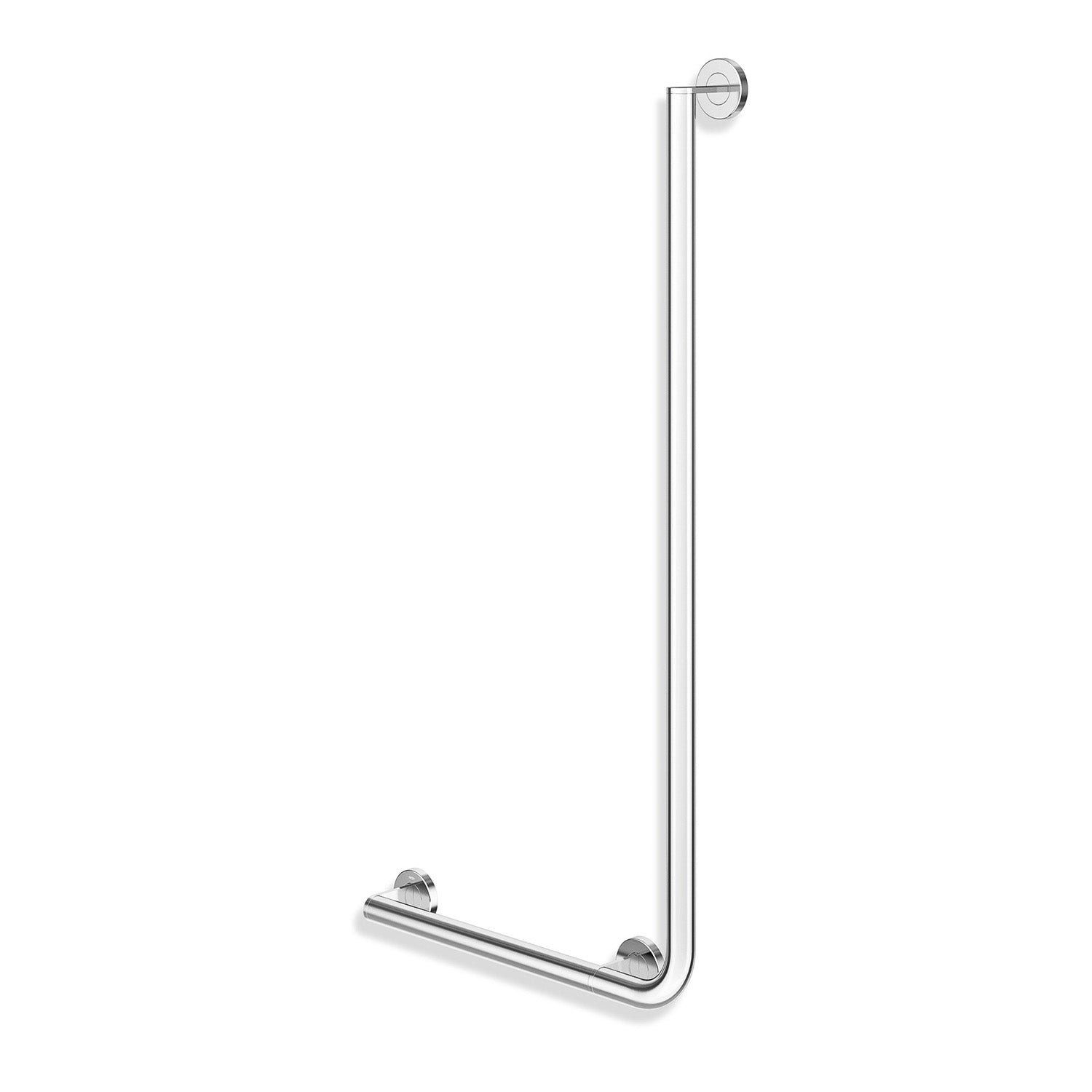 1000x500mm Left Handed Freestyle L Shaped Grab Rail with a chrome finish on a white background