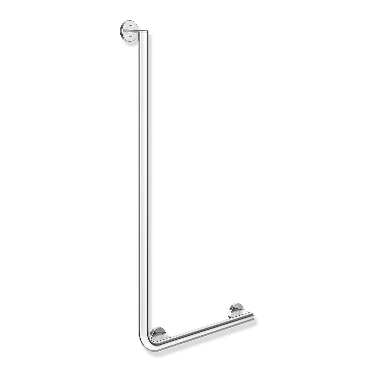 1000x500mm Right Handed Freestyle L Shaped Grab Rail with a chrome finish on a white background