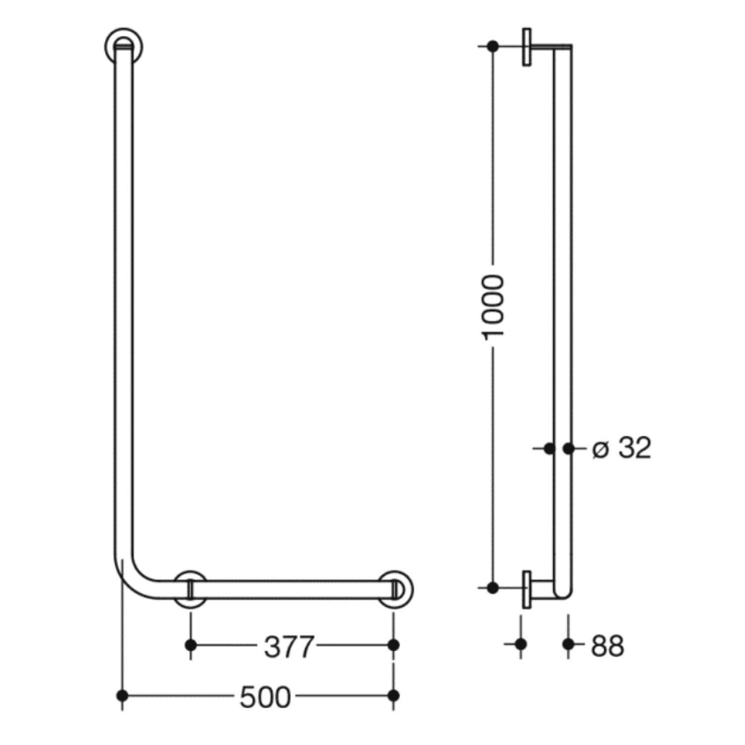 1000x500mm Right Handed Freestyle L Shaped Grab Rail with a satin steel finish dimensional drawing