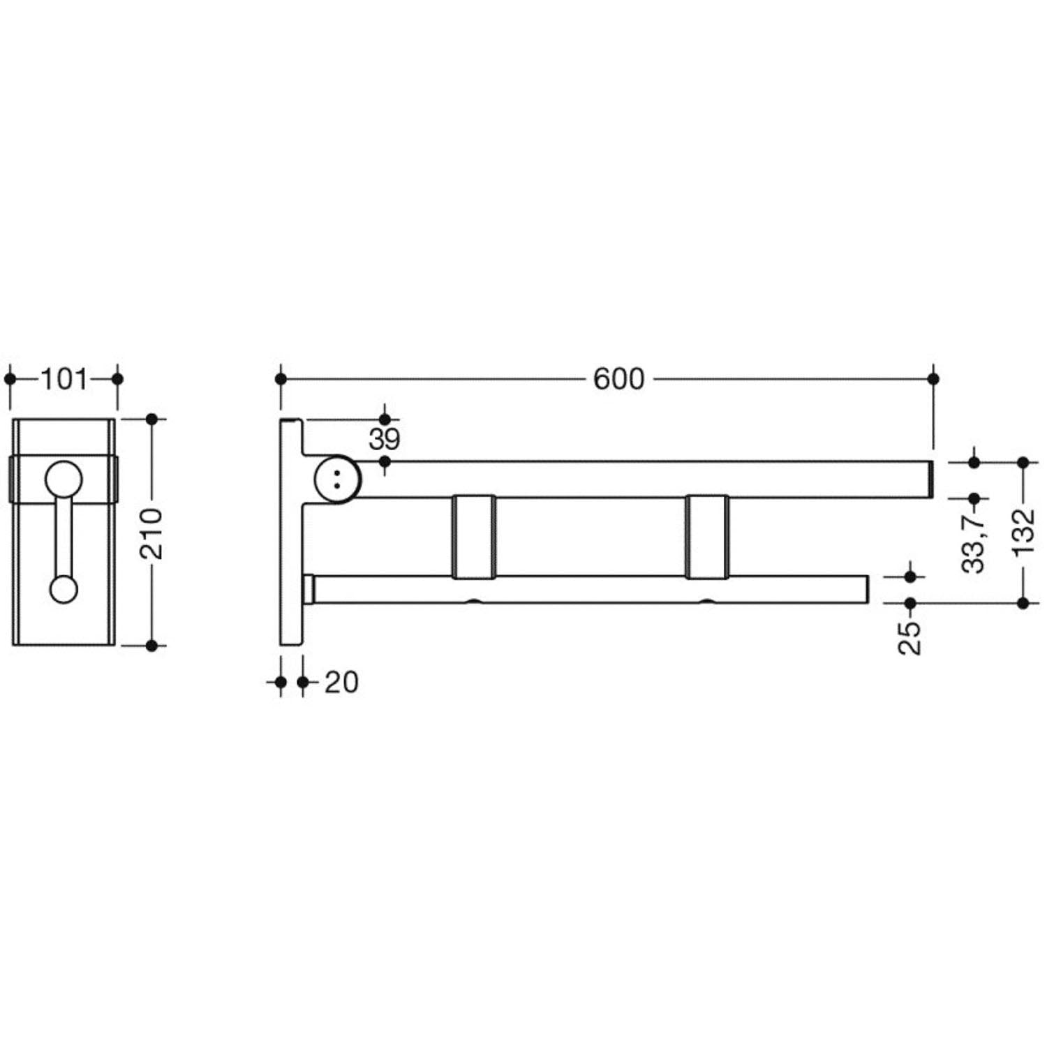 600mm Freestyle Removable Hinged Grab Rail Set with a satin steel finish dimensional drawing