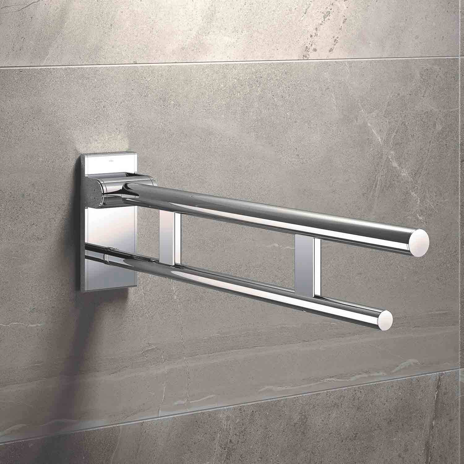 850mm Freestyle Hinged Grab Rail with a chrome finish lifestyle image