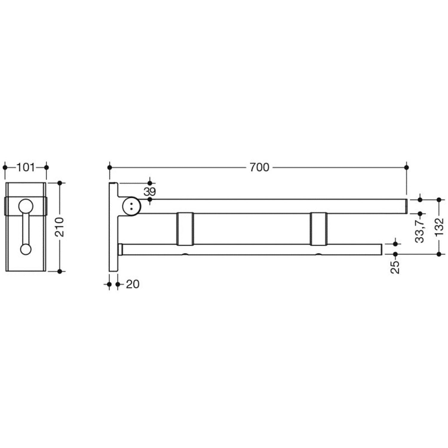 700mm Freestyle Hinged Grab Rail with a satin steel finish dimensional drawing
