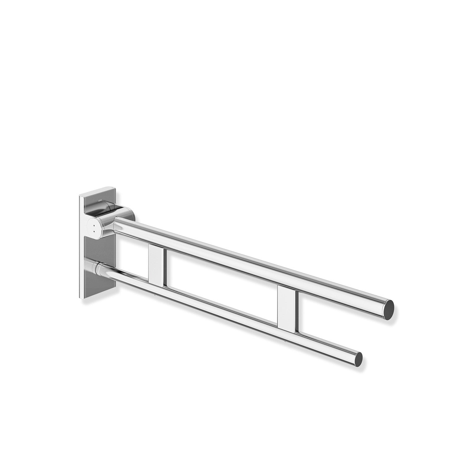 850mm Freestyle Hinged Grab Rail with a chrome finish on a white background