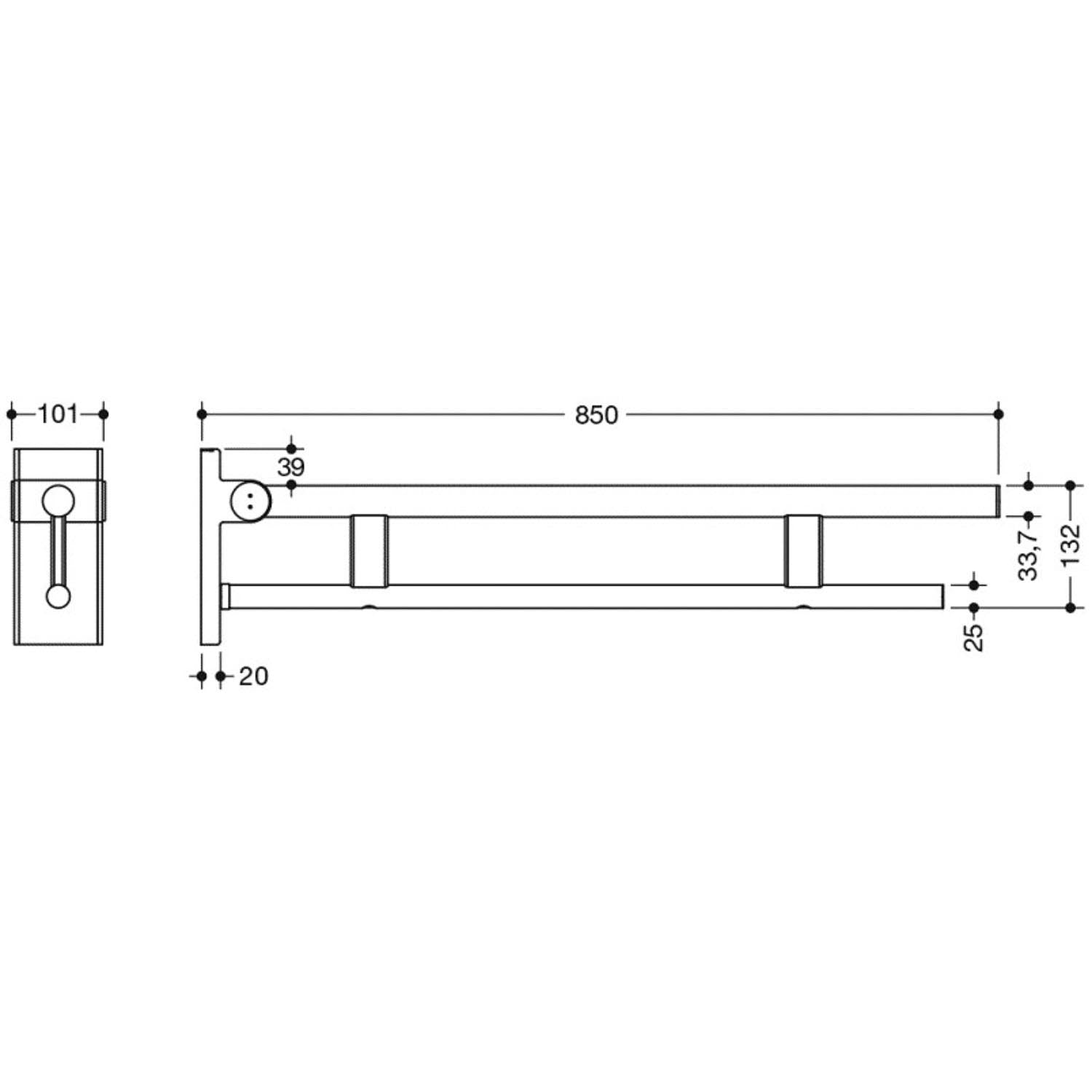 850mm Freestyle Removable Hinged Grab Rail with a satin steel finish dimensional drawing