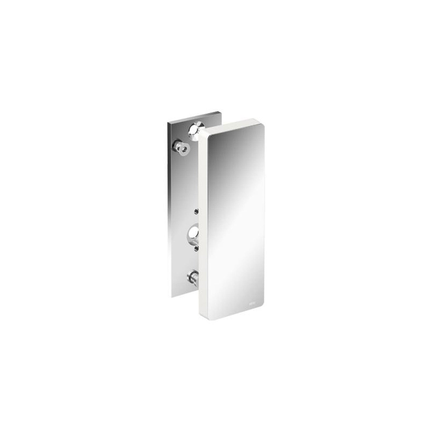 Freestyle Removable Hinged Grab Rail Mounting Plate and Cover with a chrome finish on a white background
