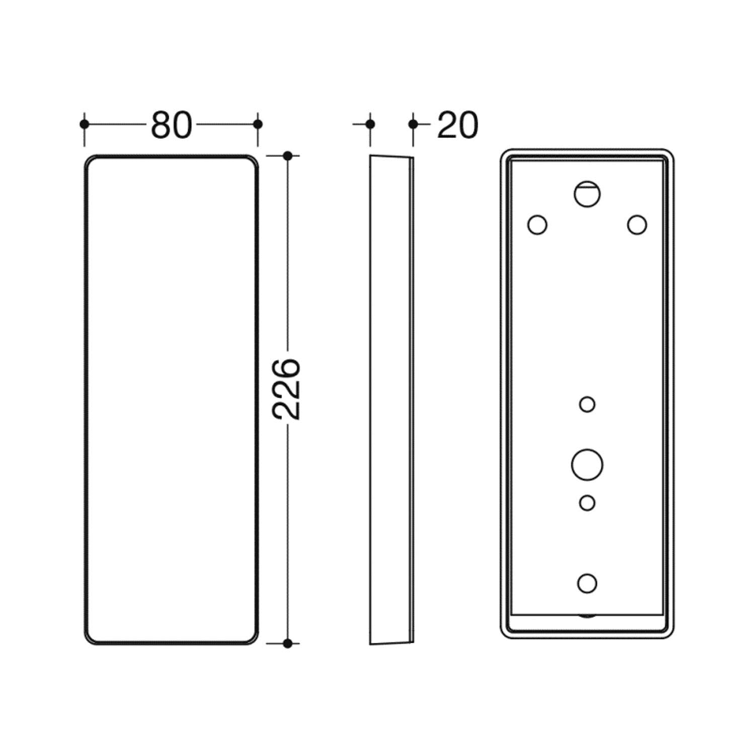 Freestyle Removable Hinged Grab Rail Mounting Plate and Cover with a satin steel finish dimensional drawing
