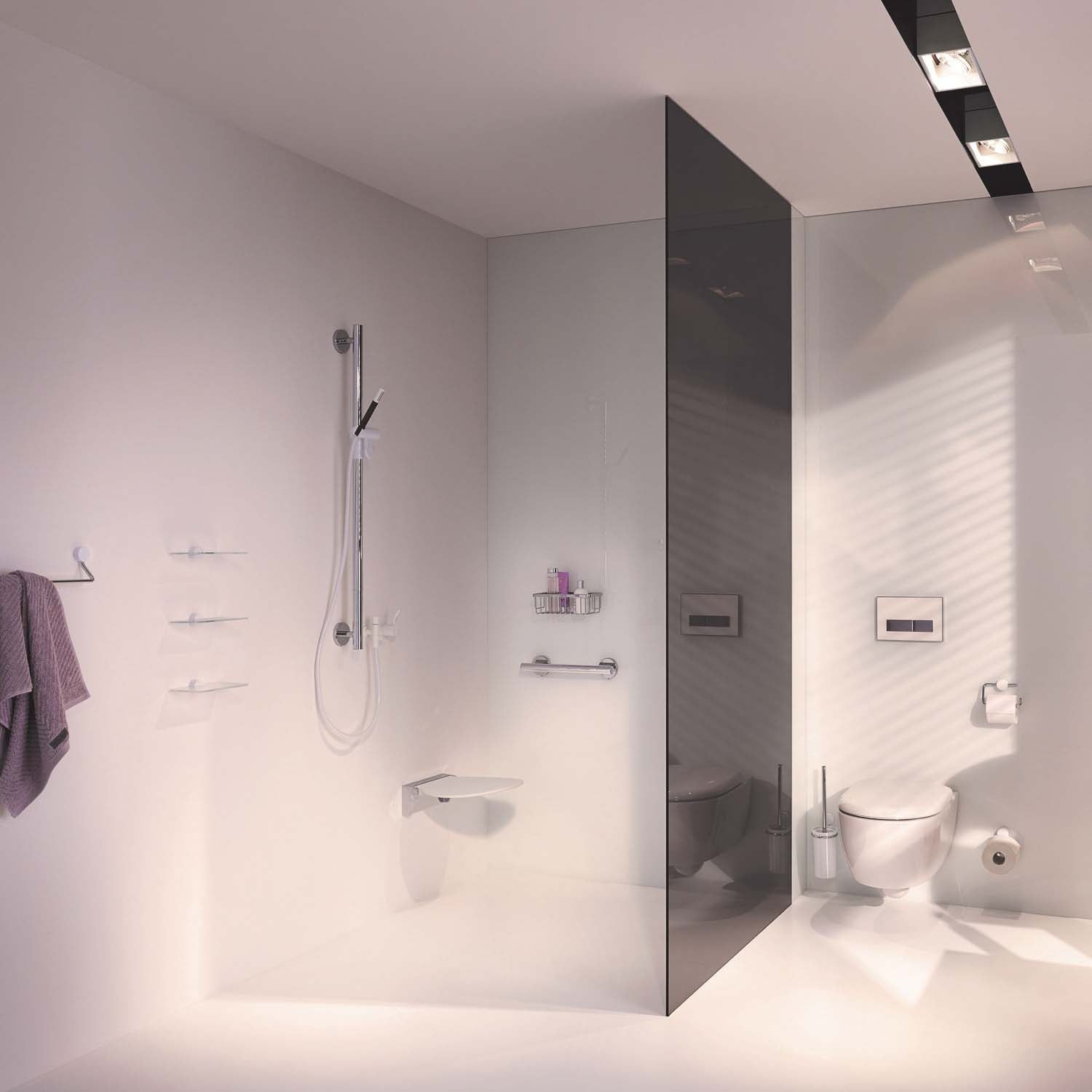 1100mm Freestyle Supportive Shower Rail with a chrome finish lifestyle image