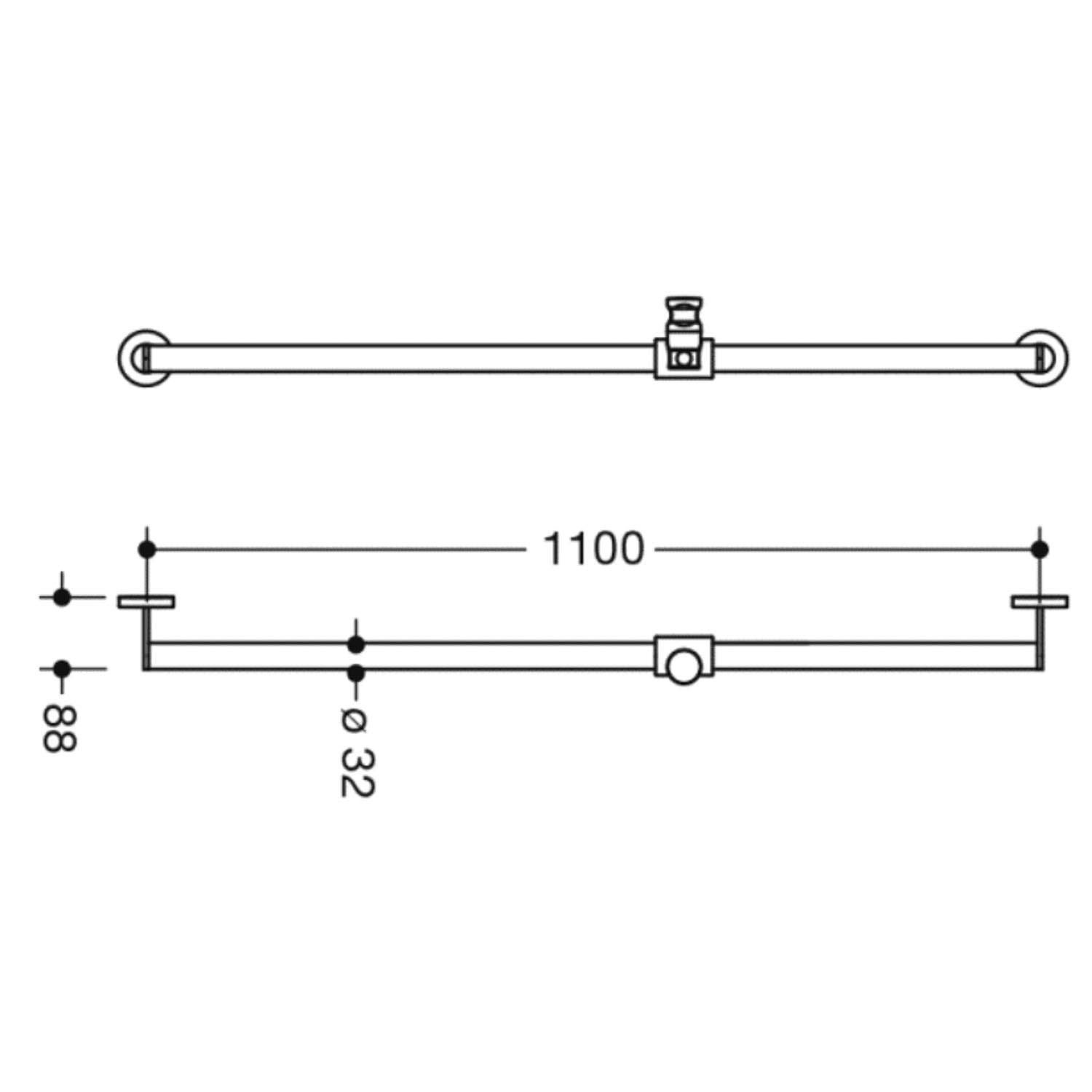 1100mm Freestyle Supportive Shower Rail with a chrome finish dimensional drawing