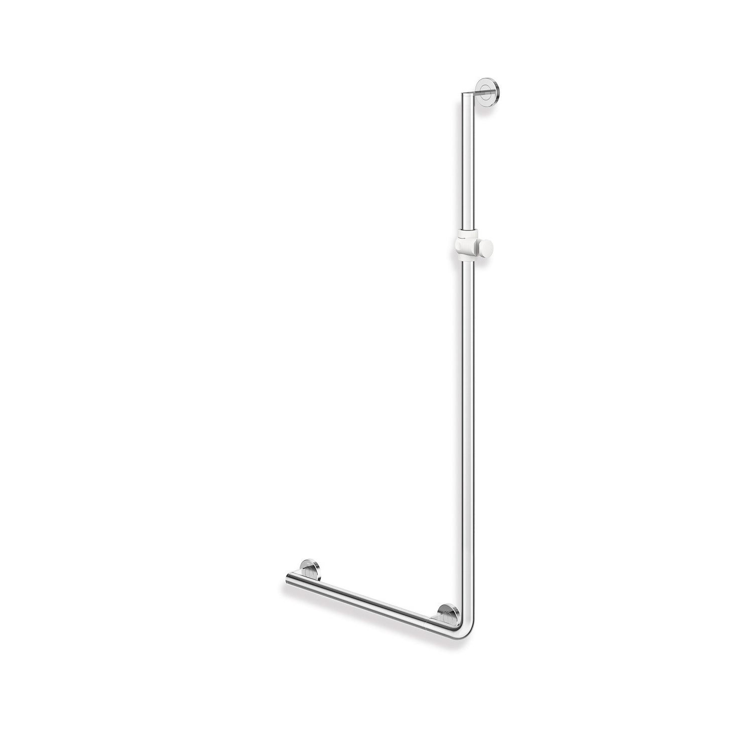 1250x600mm Left Handed Freestyle Supportive L Shaped Shower Rail with a chrome finish on a white background