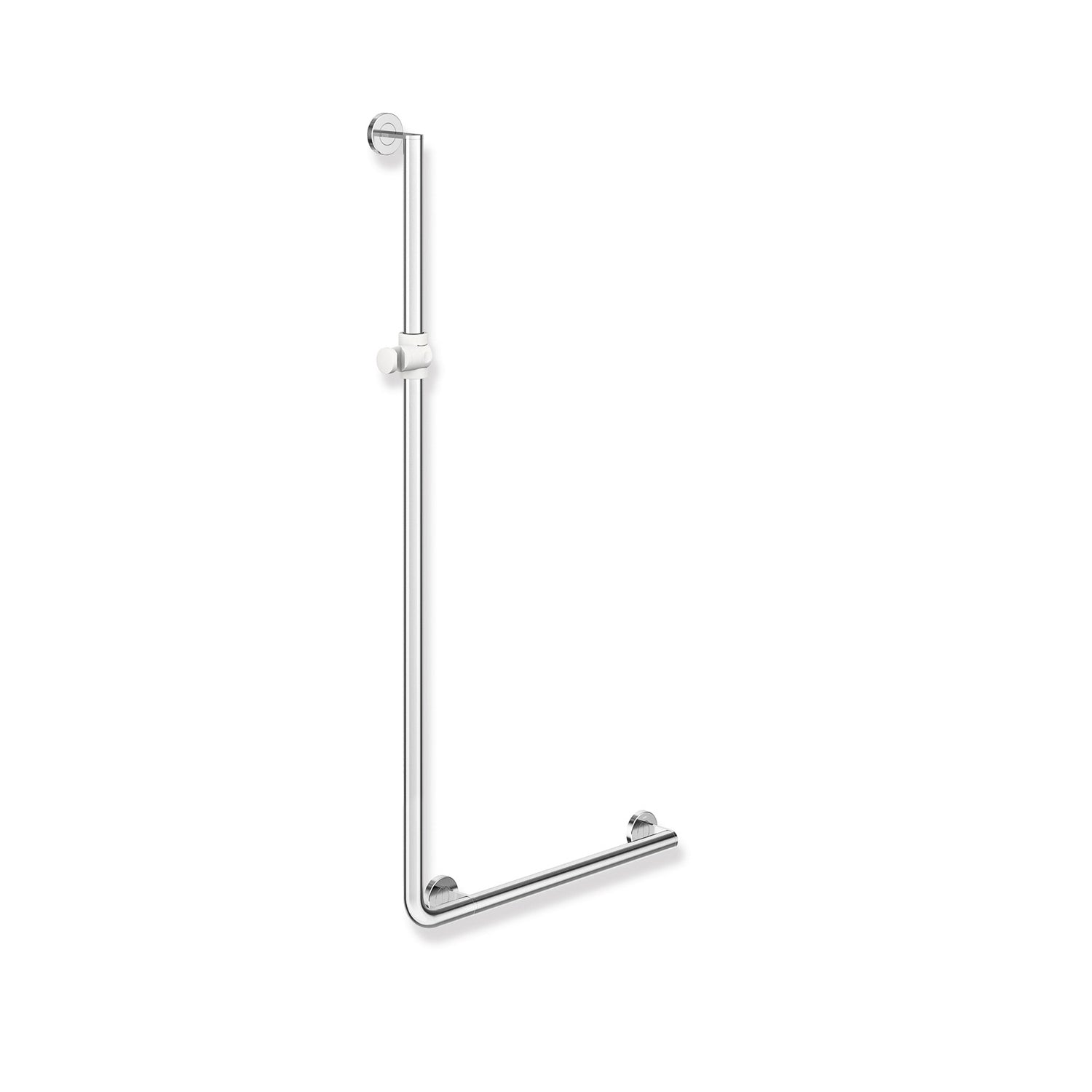 1250x600mm Right Handed Freestyle Supportive L Shaped Shower Rail with a chrome finish on a white background