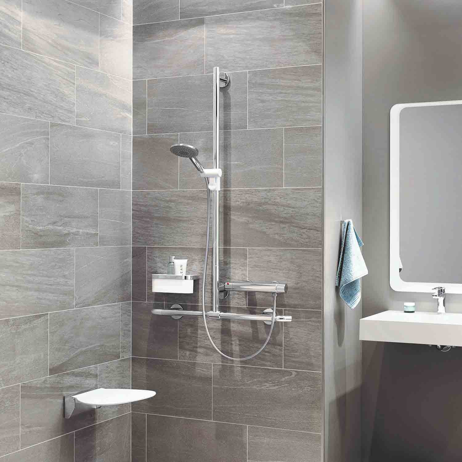 1250x1185mm Freestyle Supportive T Shaped Shower Rail with a chrome finish lifestyle image