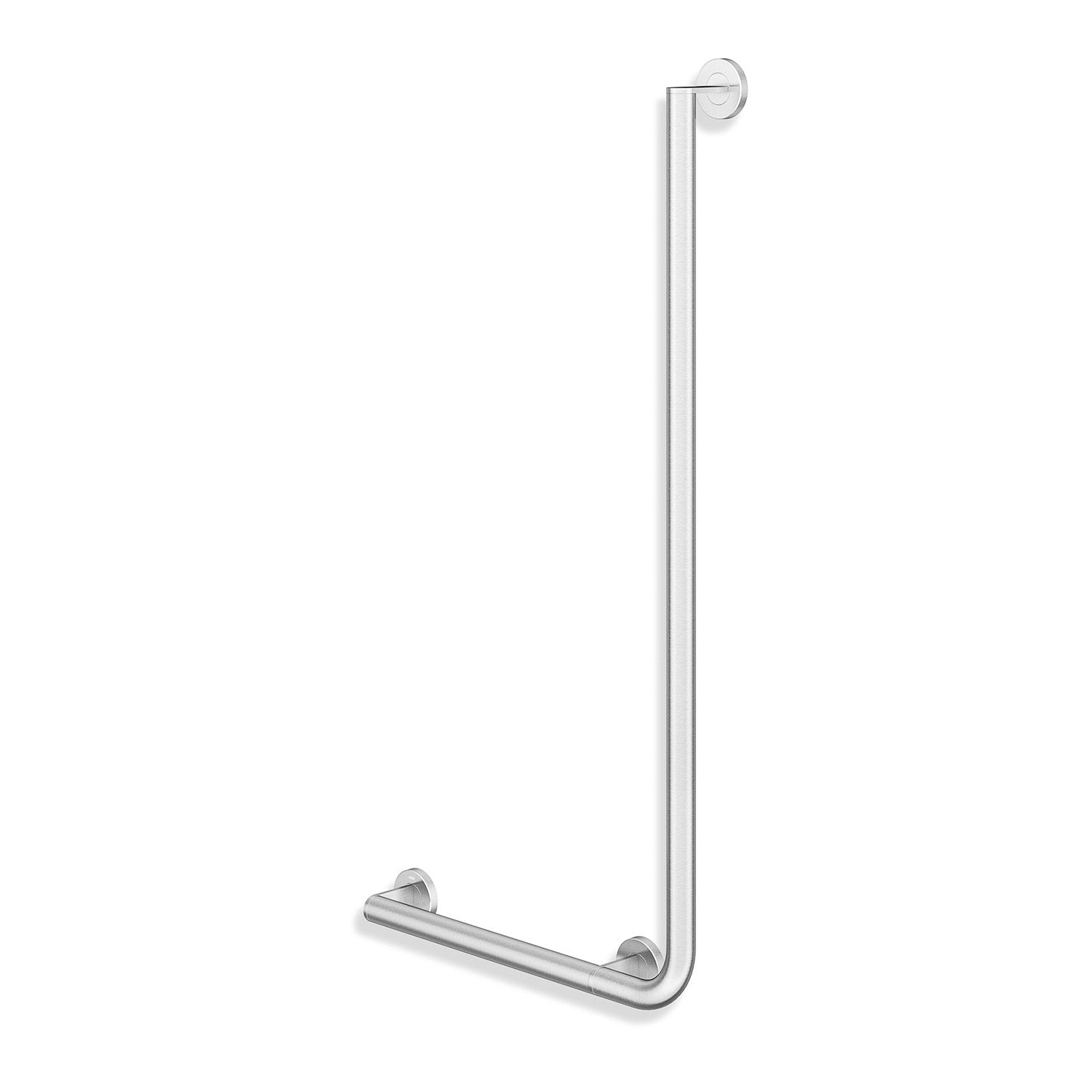 1000x500mm Left Handed Freestyle L Shaped Grab Rail with a satin steel finish on a white background