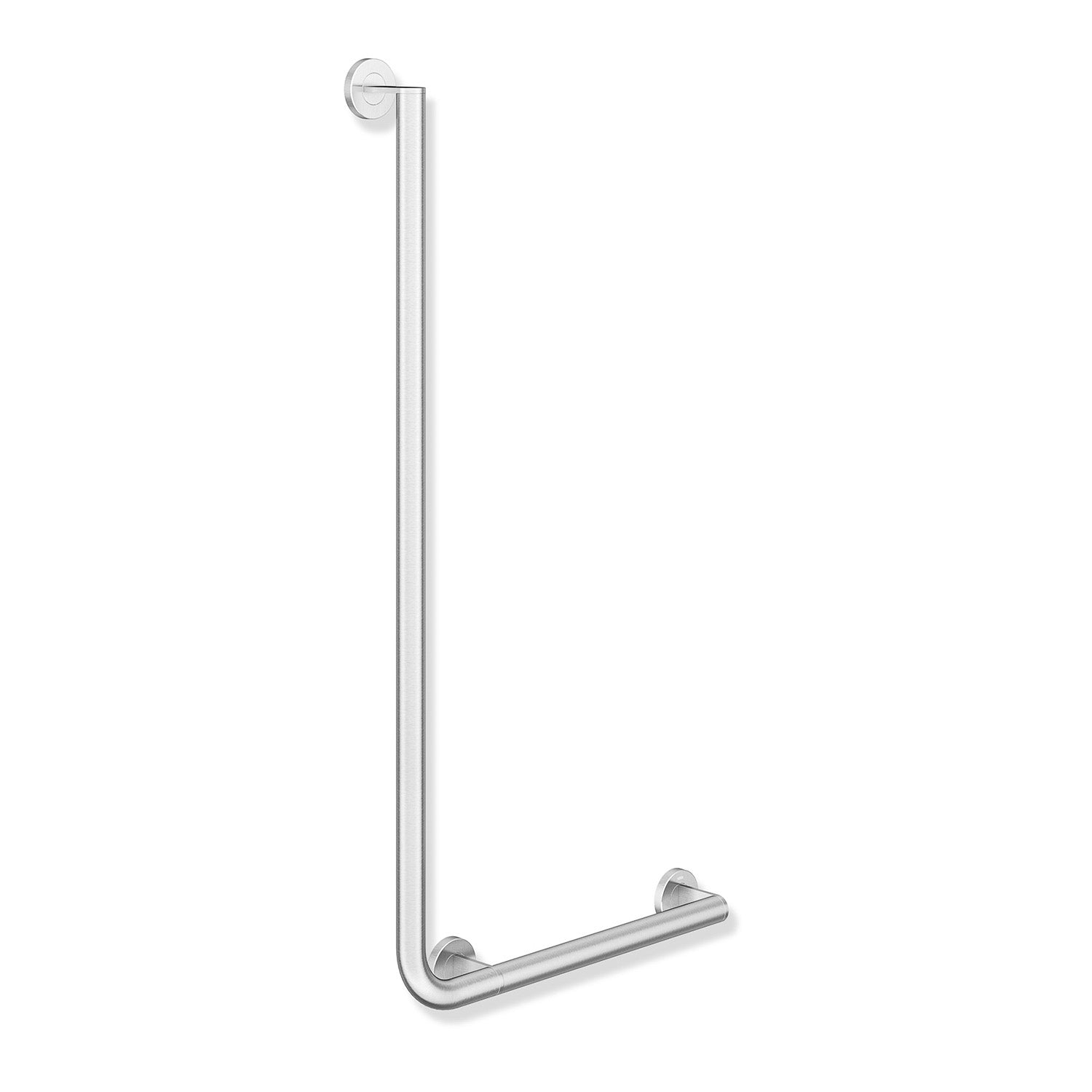 1000x500mm Right Handed Freestyle L Shaped Grab Rail with a satin steel finish on a white background
