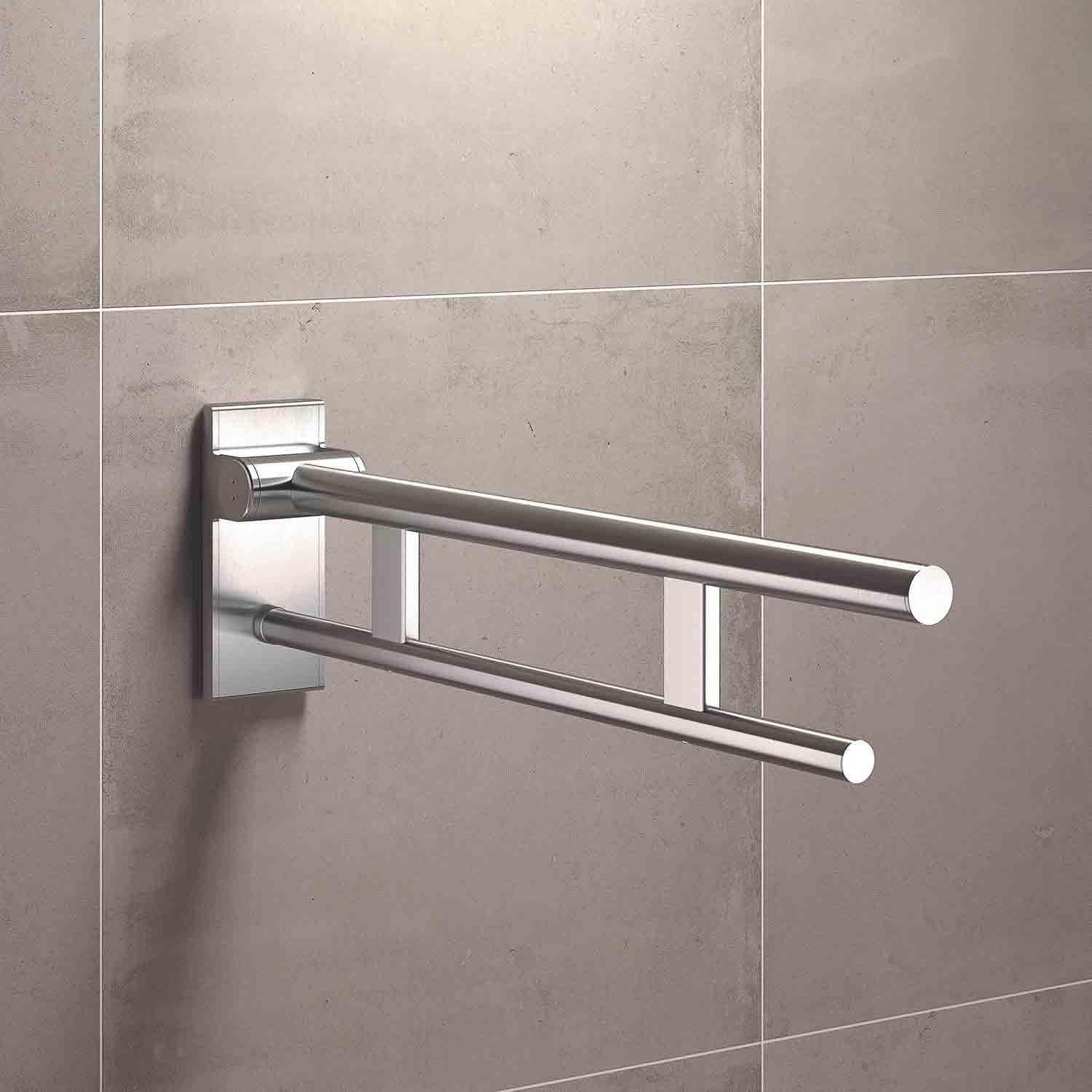 850mm Freestyle Hinged Grab Rail with a satin steel finish lifestyle image