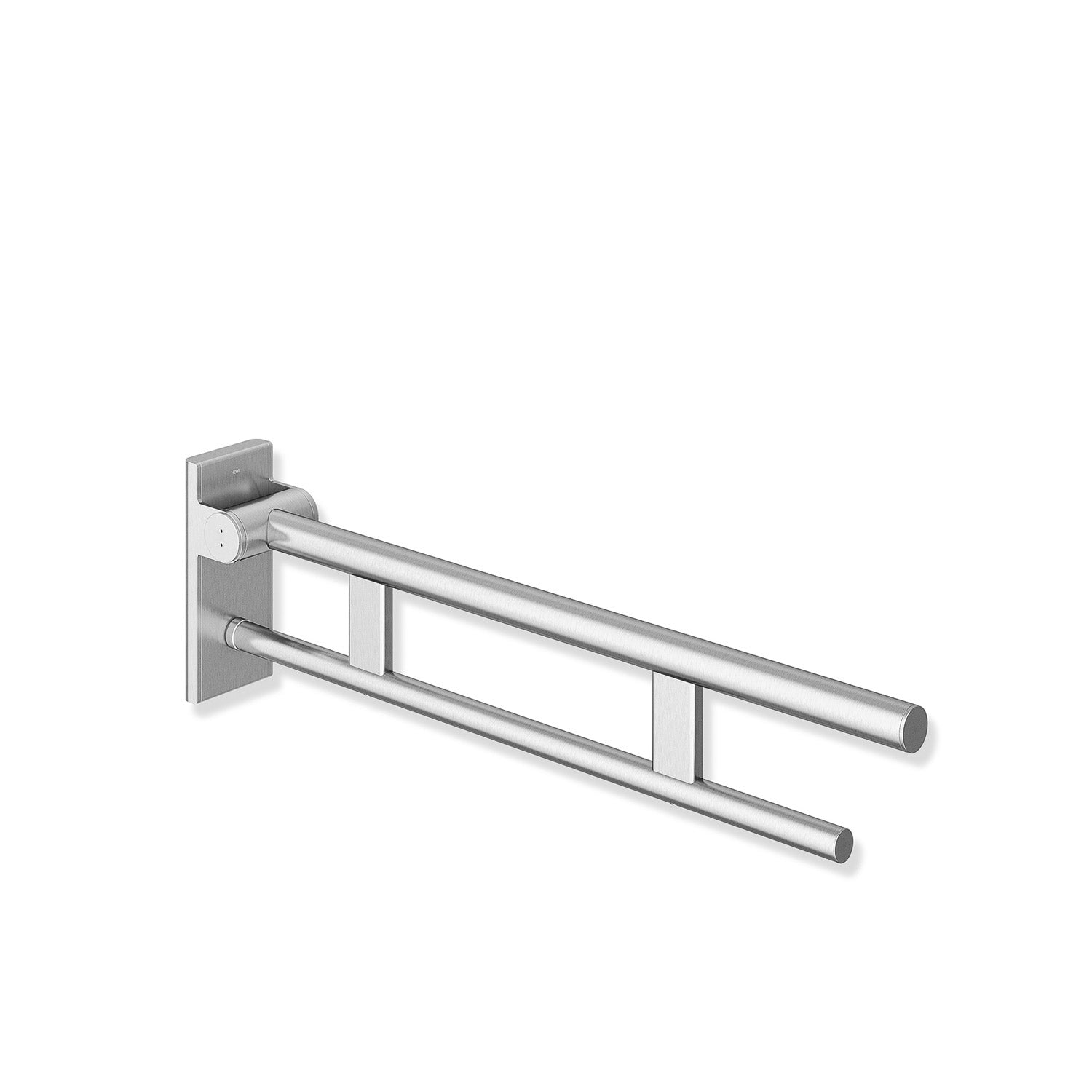 850mm Freestyle Removable Hinged Grab Rail Set with a satin steel finish on a white background