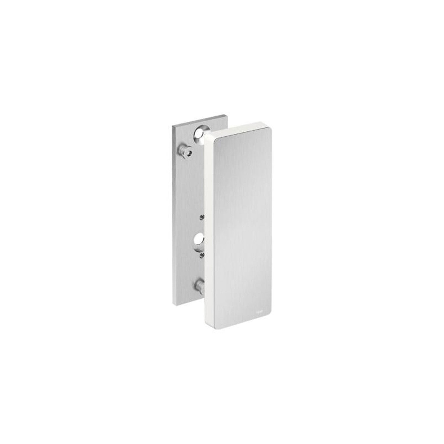 Freestyle Removable Hinged Grab Rail Mounting Plate and Cover with a satin steel finish on a white background